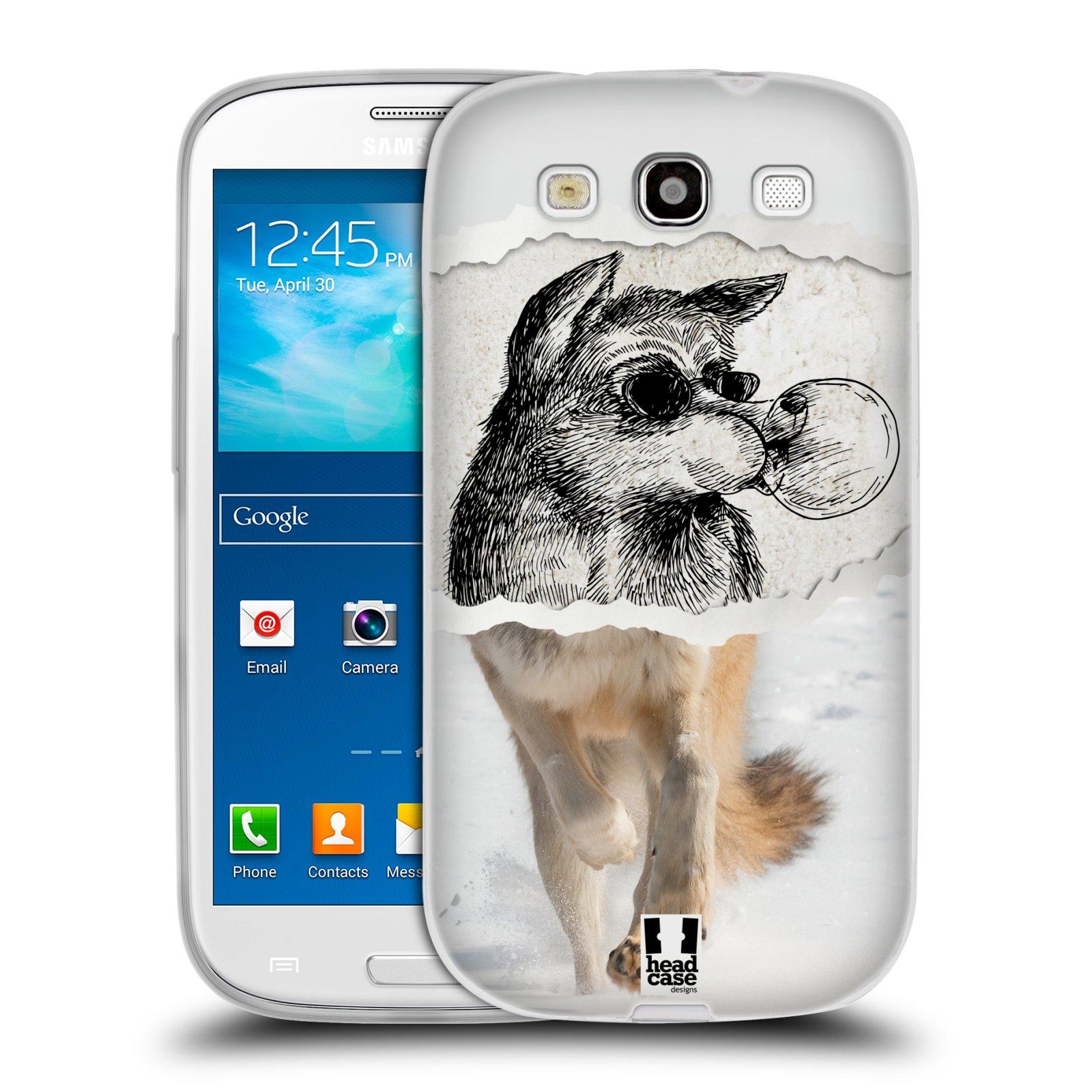 HEAD CASE silikonový obal na mobil Samsung Galaxy S3 i9300 vzor zvířata koláž vlk pohodář