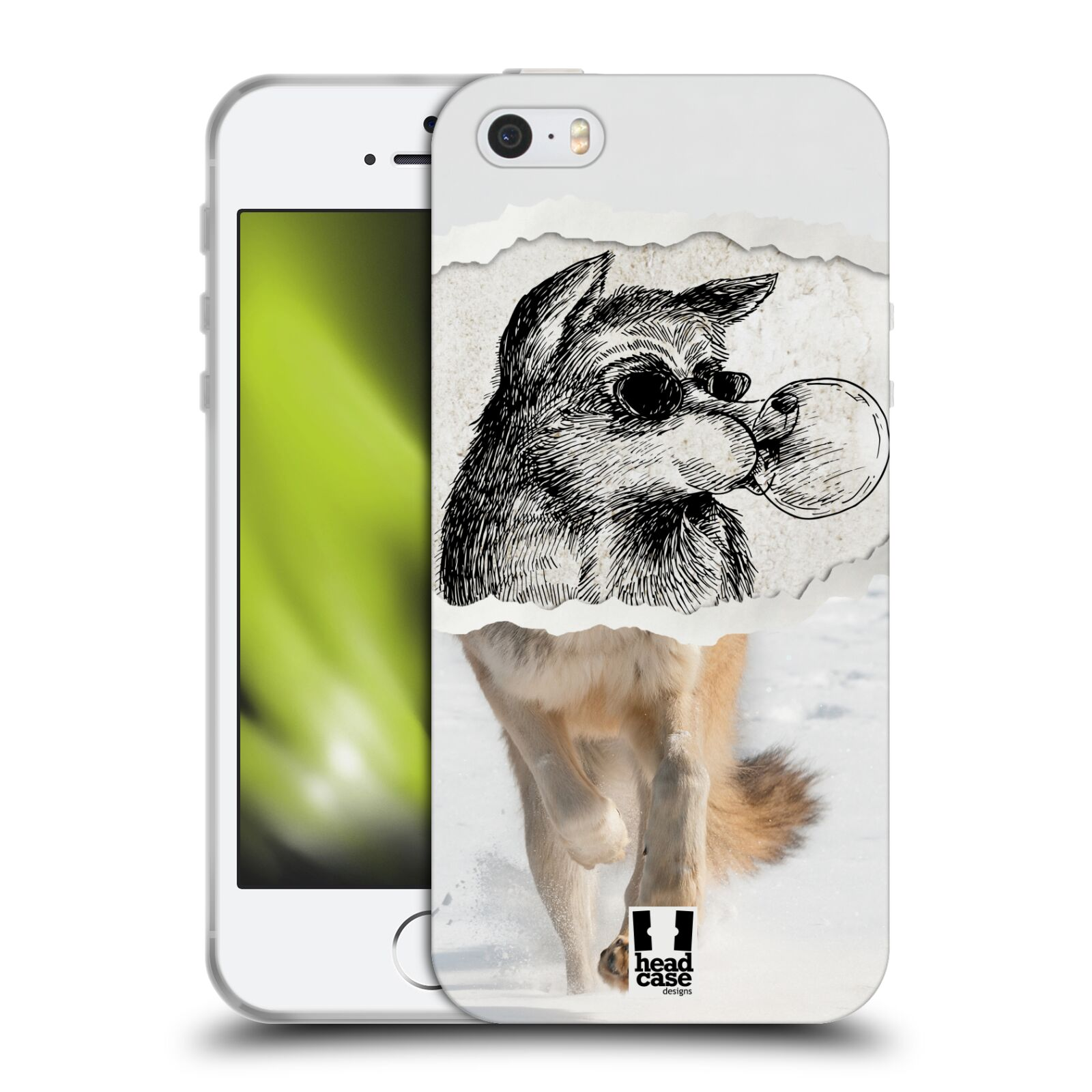 HEAD CASE silikonový obal na mobil Apple Iphone SE vzor zvířata koláž vlk  pohodář 6854e014bc4