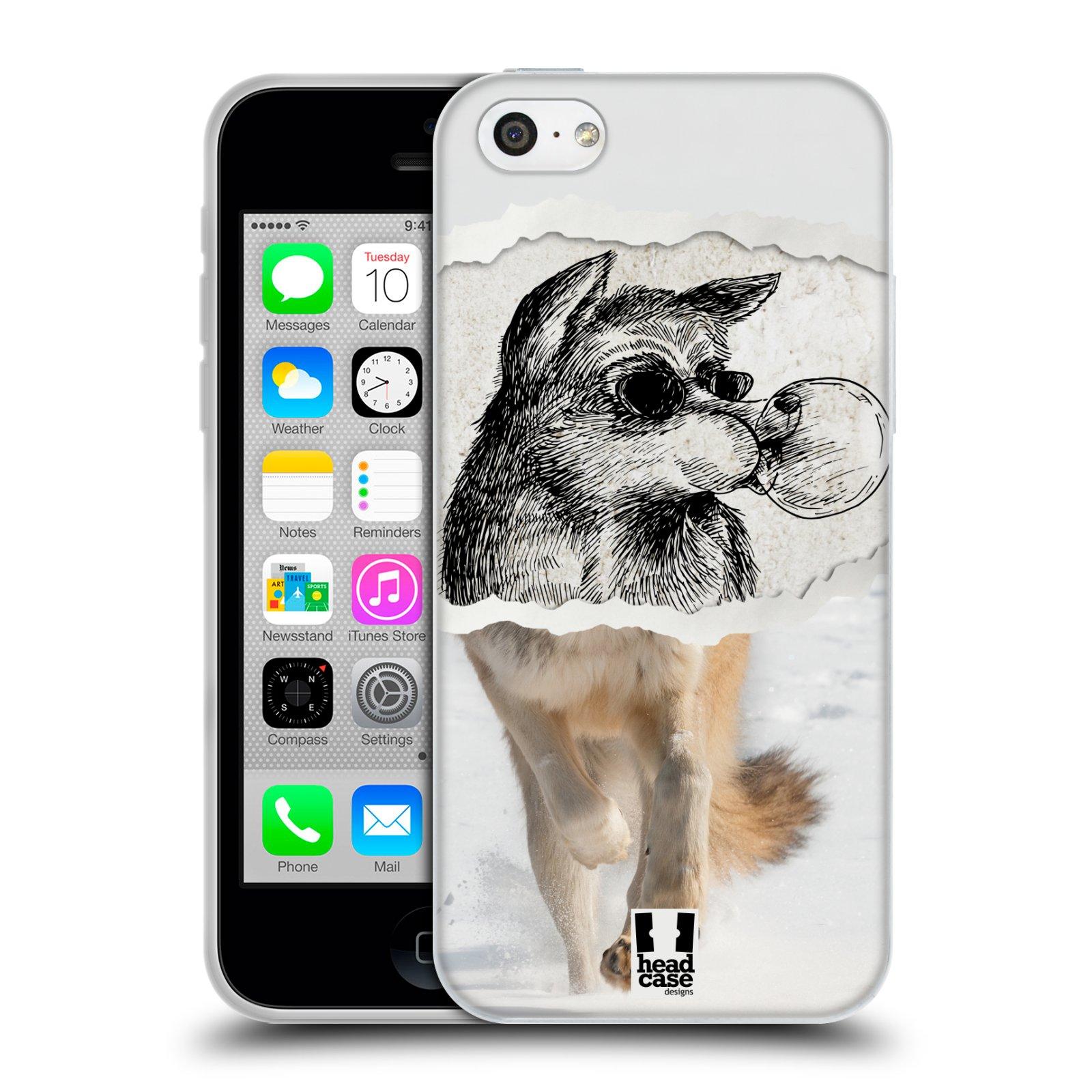 HEAD CASE silikonový obal na mobil Apple Iphone 5C vzor zvířata koláž vlk pohodář