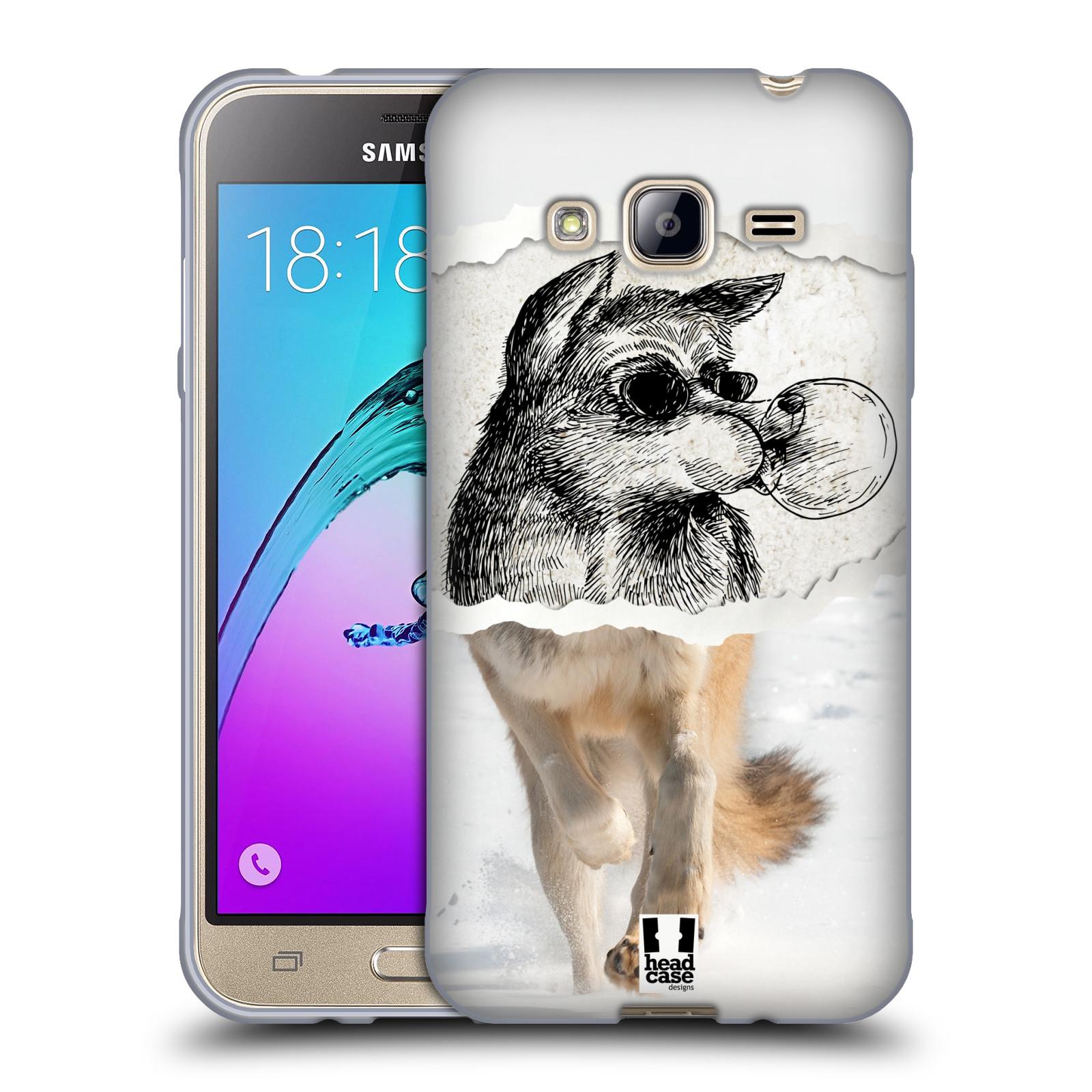 HEAD CASE silikonový obal na mobil Samsung Galaxy J3, J3 2016 vzor zvířata koláž vlk pohodář