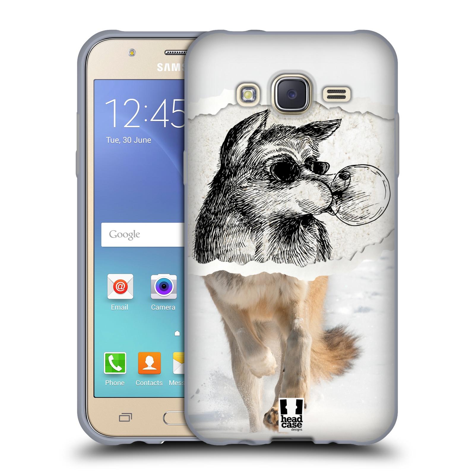 HEAD CASE silikonový obal na mobil Samsung Galaxy J5, J500, (J5 DUOS) vzor zvířata koláž vlk pohodář