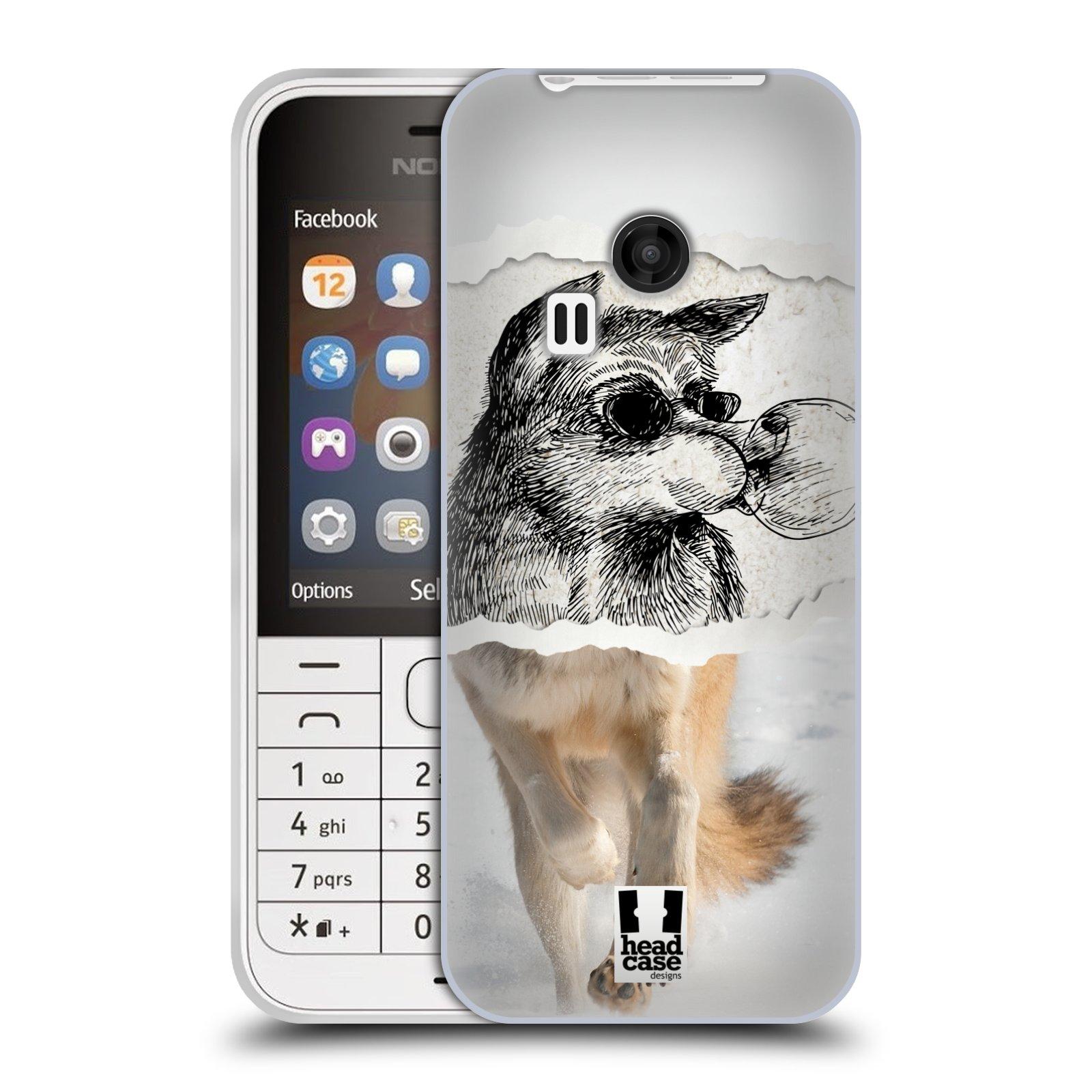 HEAD CASE silikonový obal na mobil NOKIA 220 / NOKIA 220 DUAL SIM vzor zvířata koláž vlk pohodář