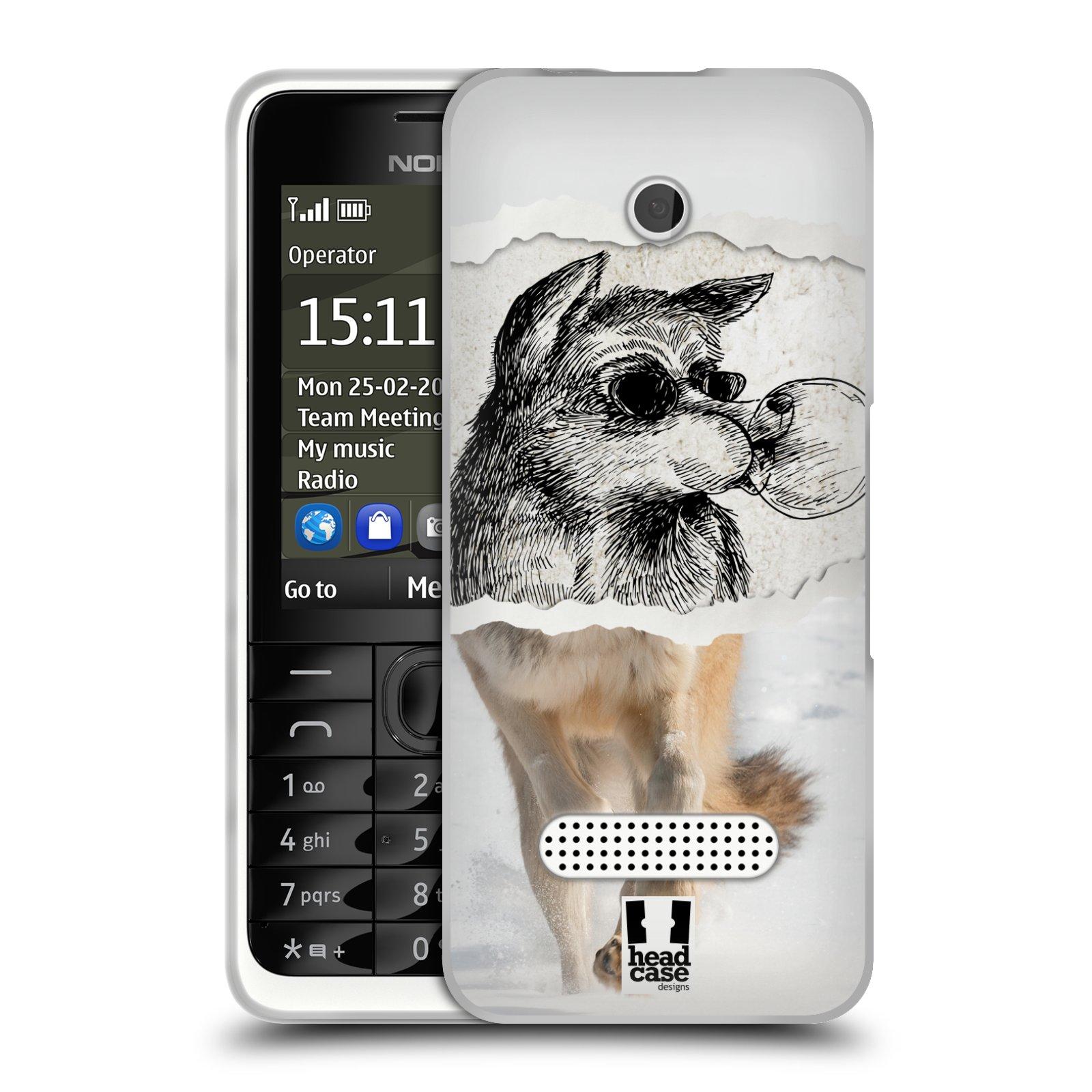 HEAD CASE silikonový obal na mobil NOKIA 301 vzor zvířata koláž vlk pohodář