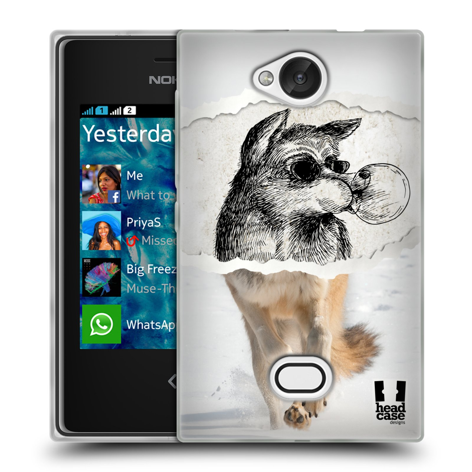 HEAD CASE silikonový obal na mobil NOKIA Asha 503 vzor zvířata koláž vlk pohodář