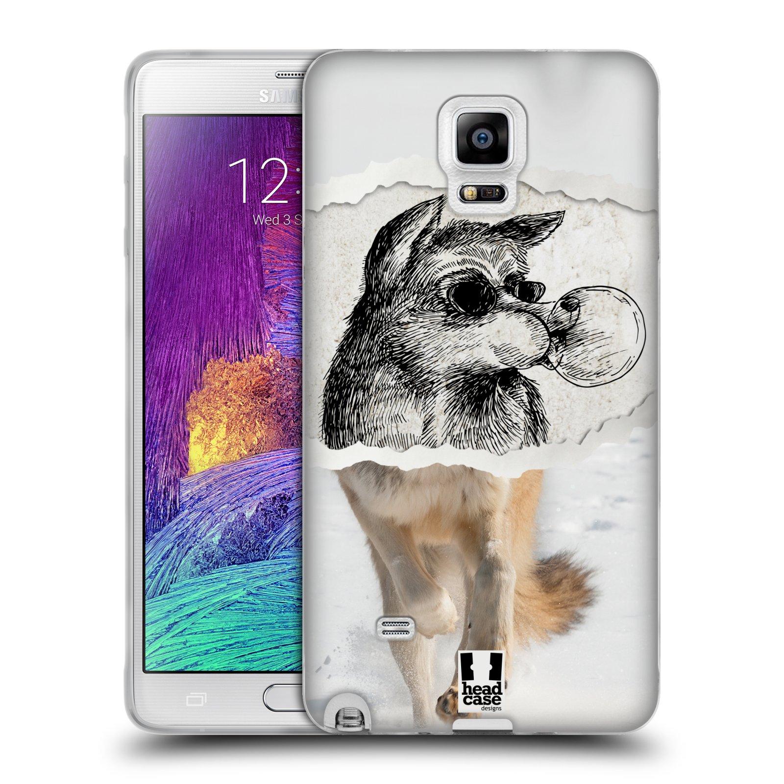 HEAD CASE silikonový obal na mobil Samsung Galaxy Note 4 (N910) vzor zvířata koláž vlk pohodář
