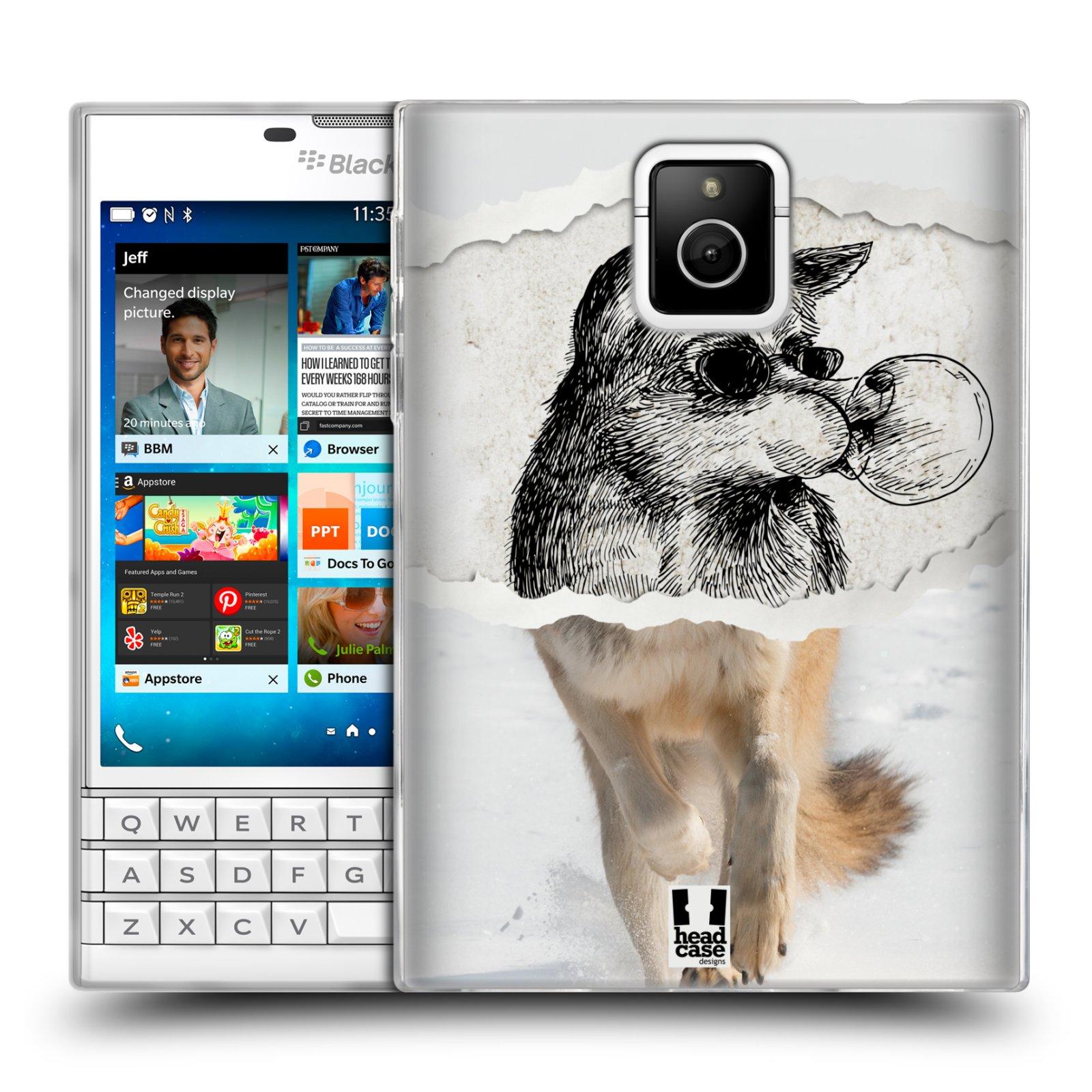 HEAD CASE silikonový obal na mobil Blackberry PASSPORT vzor zvířata koláž vlk pohodář