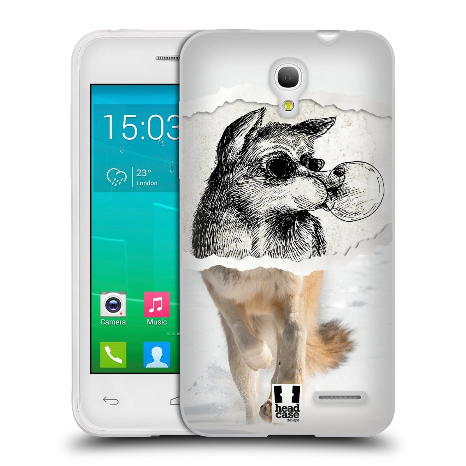 HEAD CASE silikonový obal na mobil Alcatel POP S3 OT-5050Y vzor zvířata koláž vlk pohodář