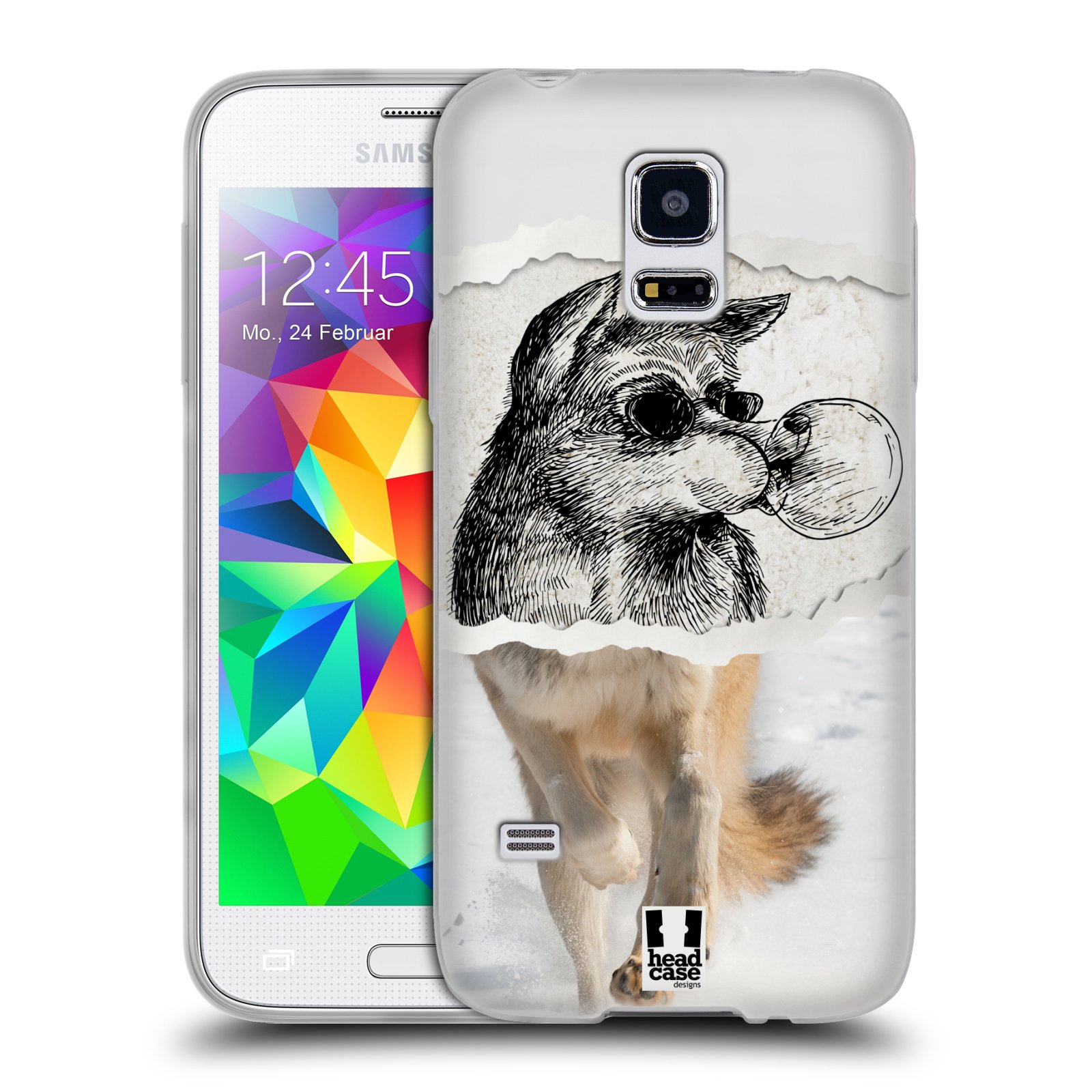 HEAD CASE silikonový obal na mobil Samsung Galaxy S5 MINI vzor zvířata koláž vlk pohodář