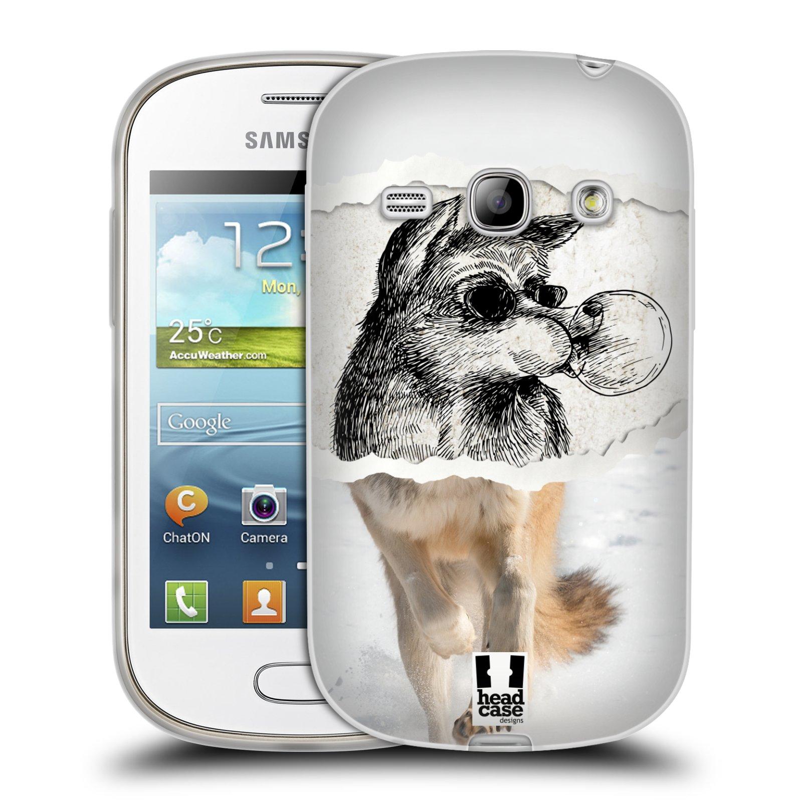 HEAD CASE silikonový obal na mobil Samsung Galaxy FAME vzor zvířata koláž vlk pohodář