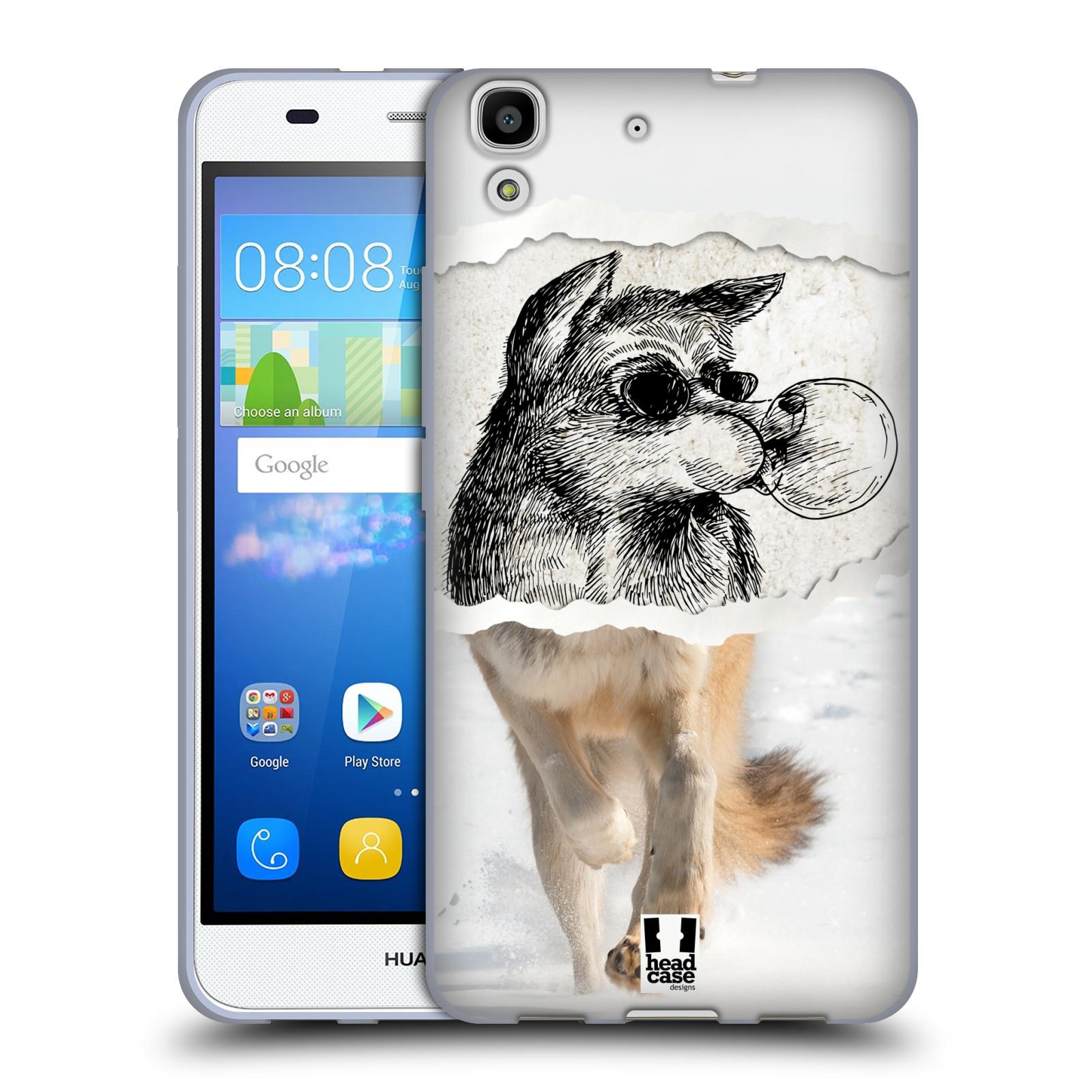 HEAD CASE silikonový obal na mobil HUAWEI Y6 vzor zvířata koláž vlk pohodář