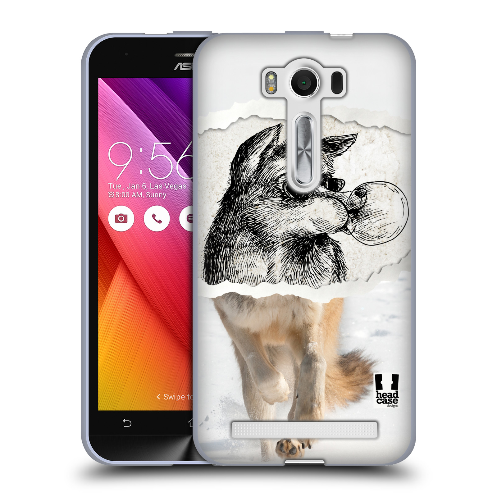 "HEAD CASE silikonový obal na mobil Asus Zenfone 2 LASER (ZE500KL s 5"" displejem) vzor zvířata koláž vlk pohodář"
