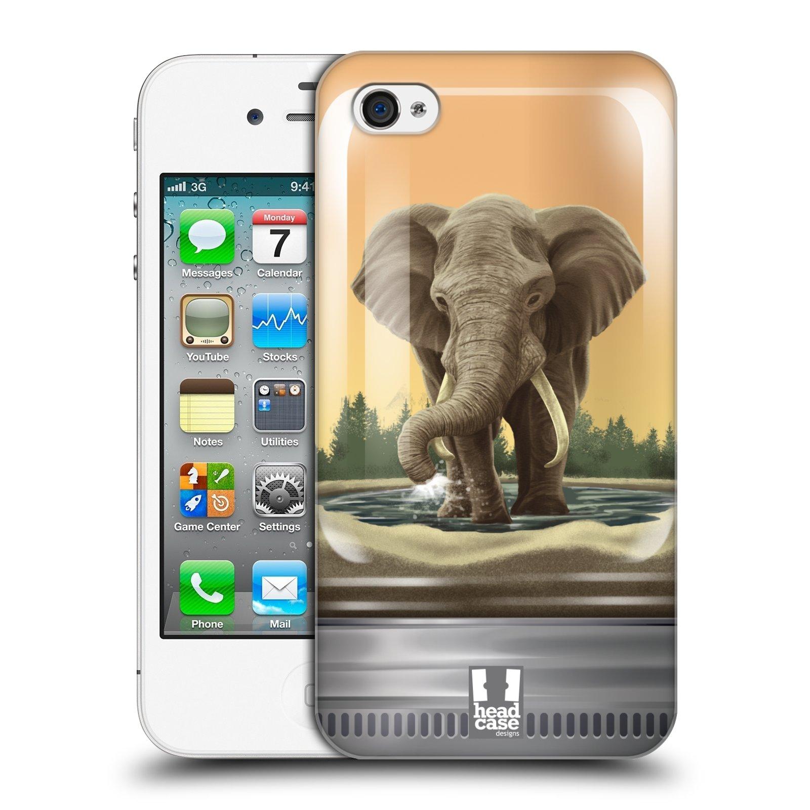 HEAD CASE plastový obal na mobil Apple Iphone 4/4S vzor Zvířátka v těžítku slon