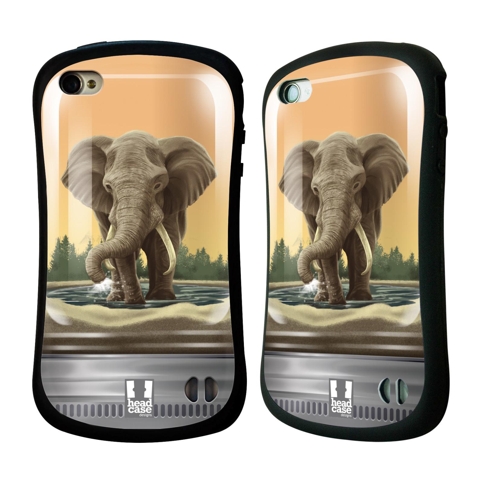 HEAD CASE silikon/plast odolný obal na mobil Apple Iphone 4/4S vzor Zvířátka v těžítku slon