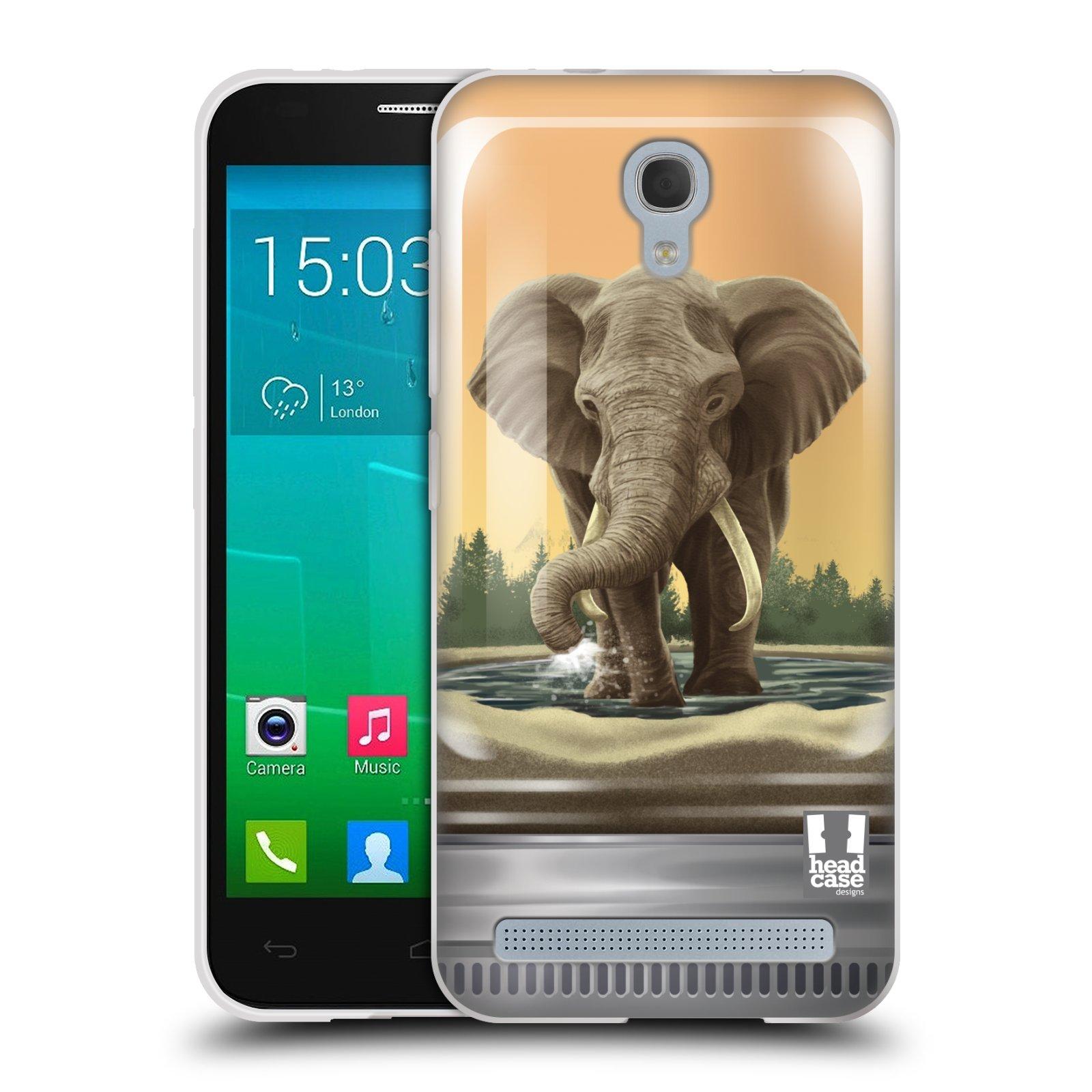 HEAD CASE silikonový obal na mobil Alcatel Idol 2 MINI S 6036Y vzor Zvířátka v těžítku slon