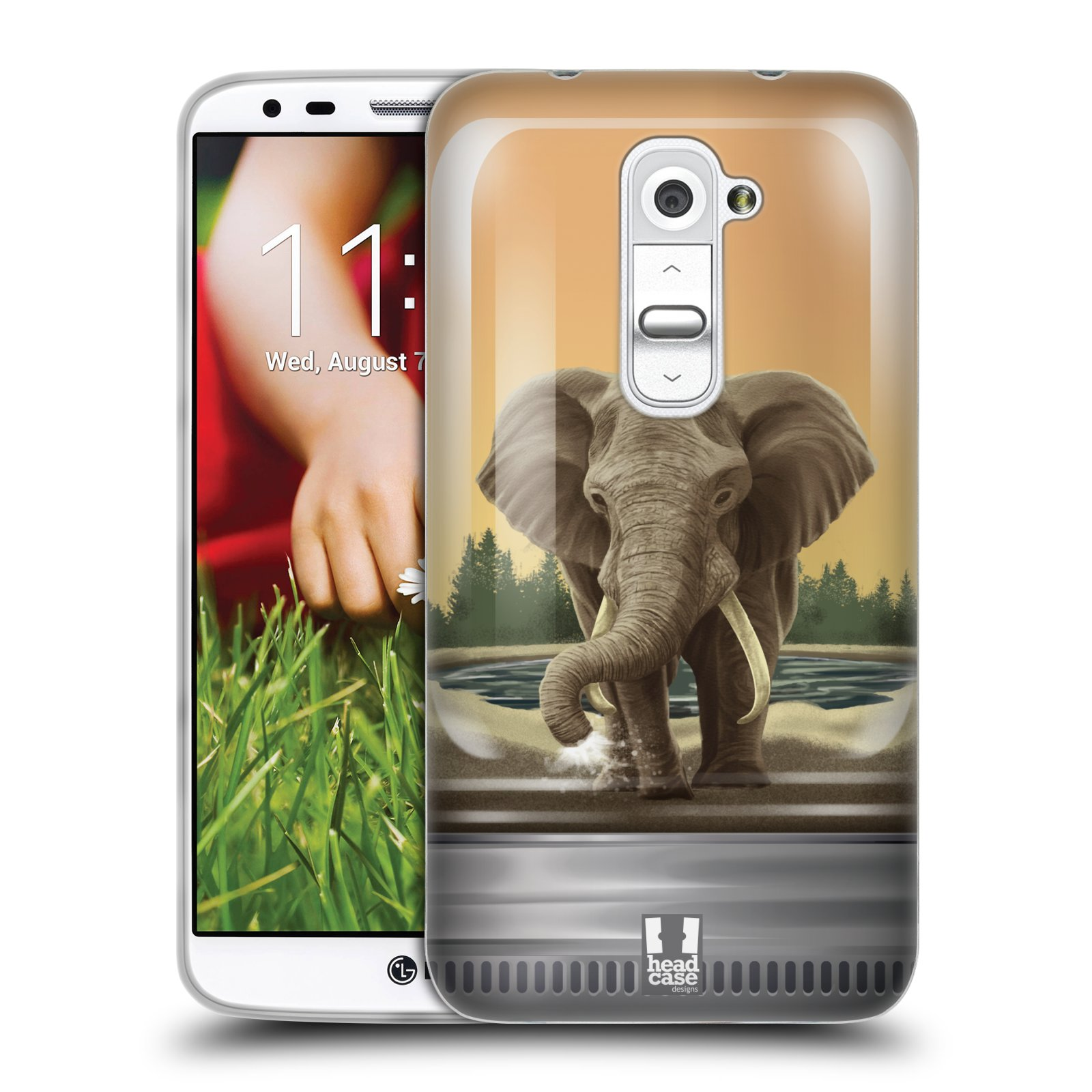 HEAD CASE silikonový obal na mobil LG G2 vzor Zvířátka v těžítku slon
