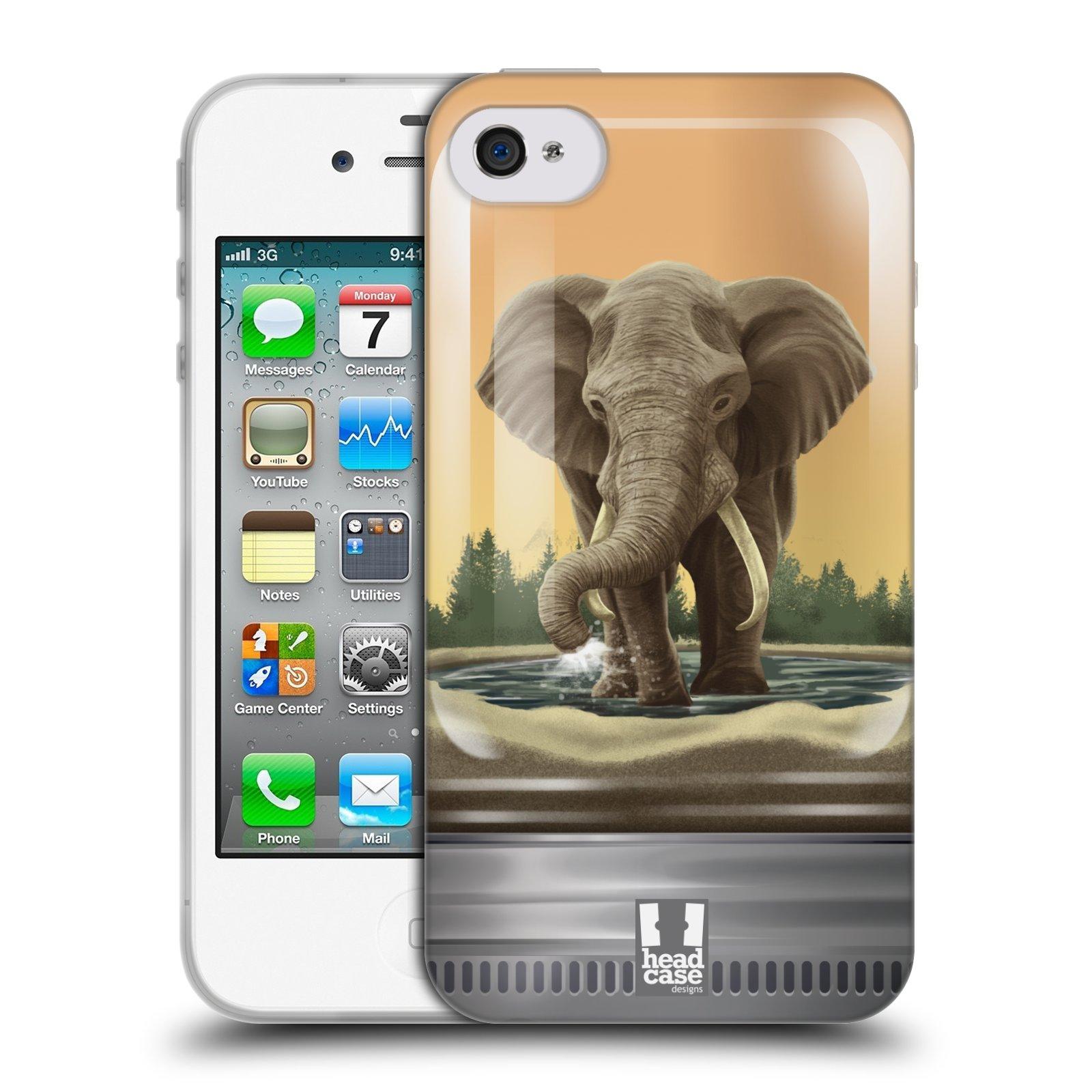 HEAD CASE silikonový obal na mobil Apple Iphone 4/4S vzor Zvířátka v těžítku slon