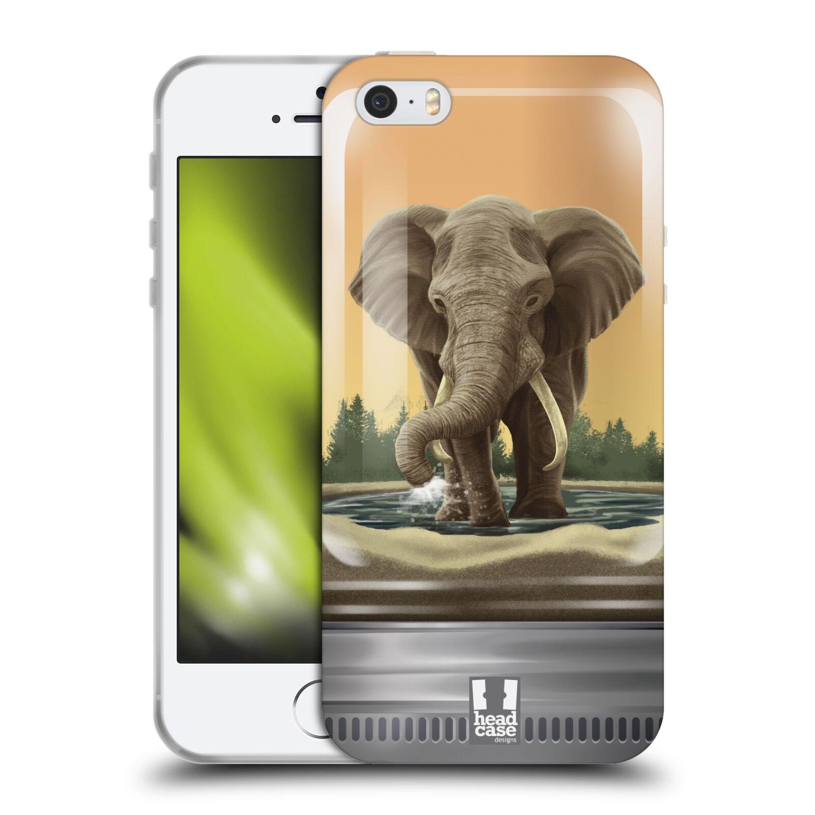 HEAD CASE silikonový obal na mobil Apple Iphone 5/5S vzor Zvířátka v těžítku slon