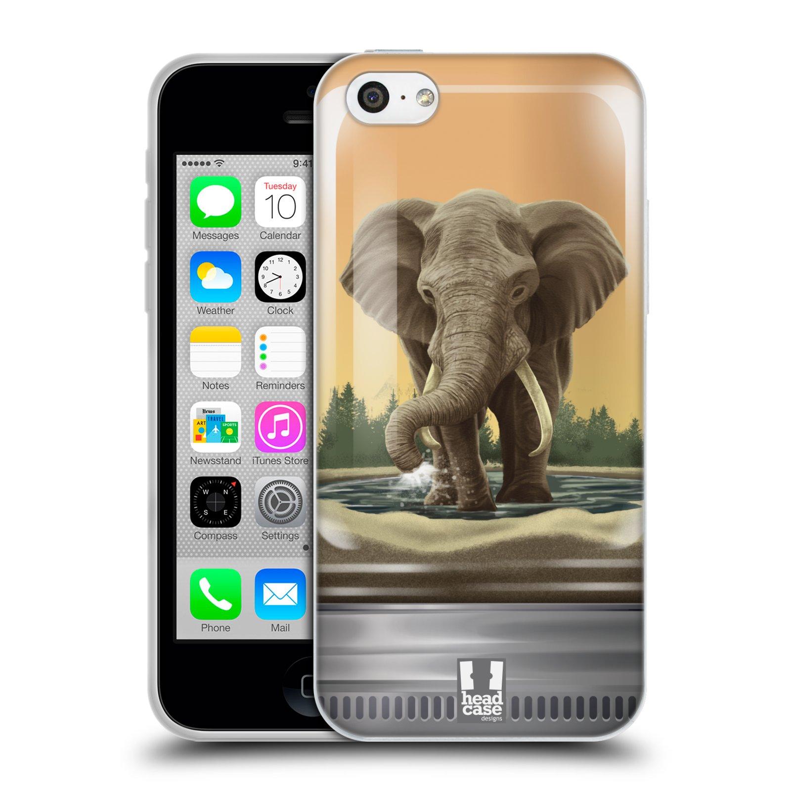 HEAD CASE silikonový obal na mobil Apple Iphone 5C vzor Zvířátka v těžítku slon