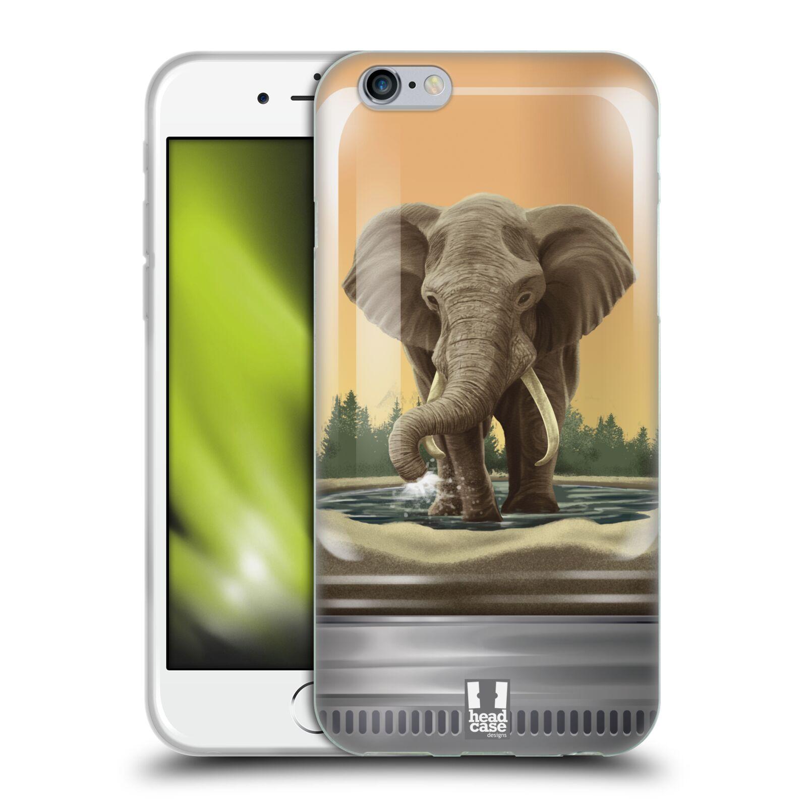 HEAD CASE silikonový obal na mobil Apple Iphone 6/6S vzor Zvířátka v těžítku slon