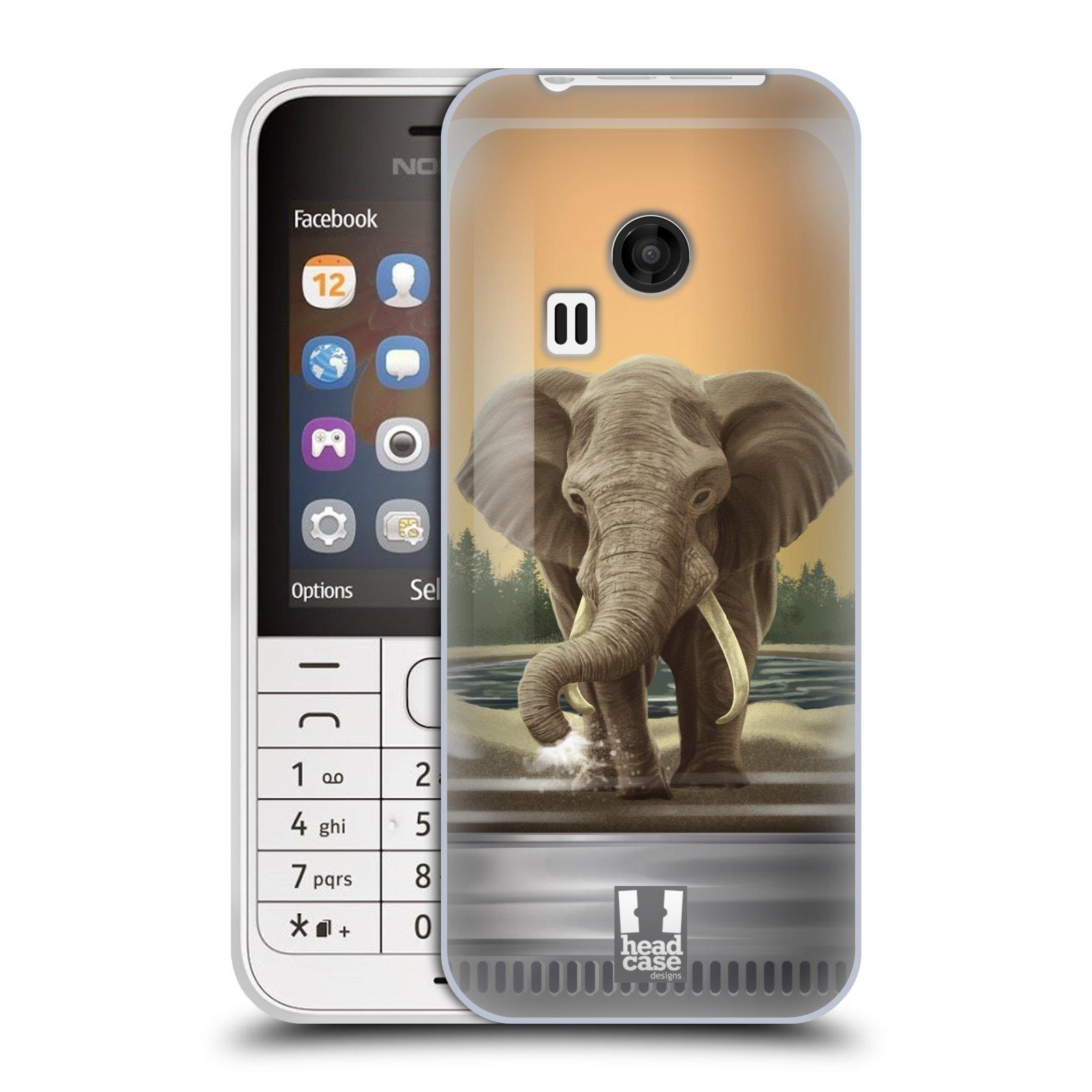 HEAD CASE silikonový obal na mobil NOKIA 220 / NOKIA 220 DUAL SIM vzor Zvířátka v těžítku slon