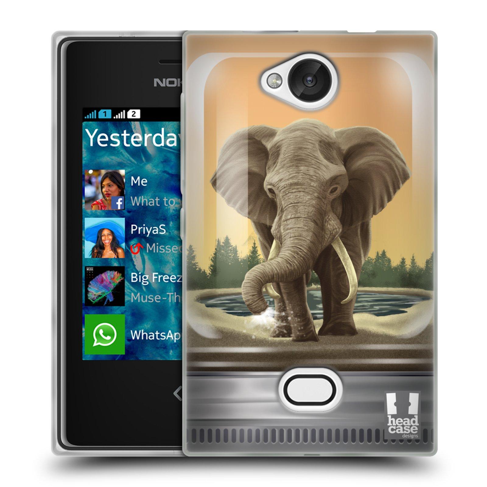 HEAD CASE silikonový obal na mobil NOKIA Asha 503 vzor Zvířátka v těžítku slon
