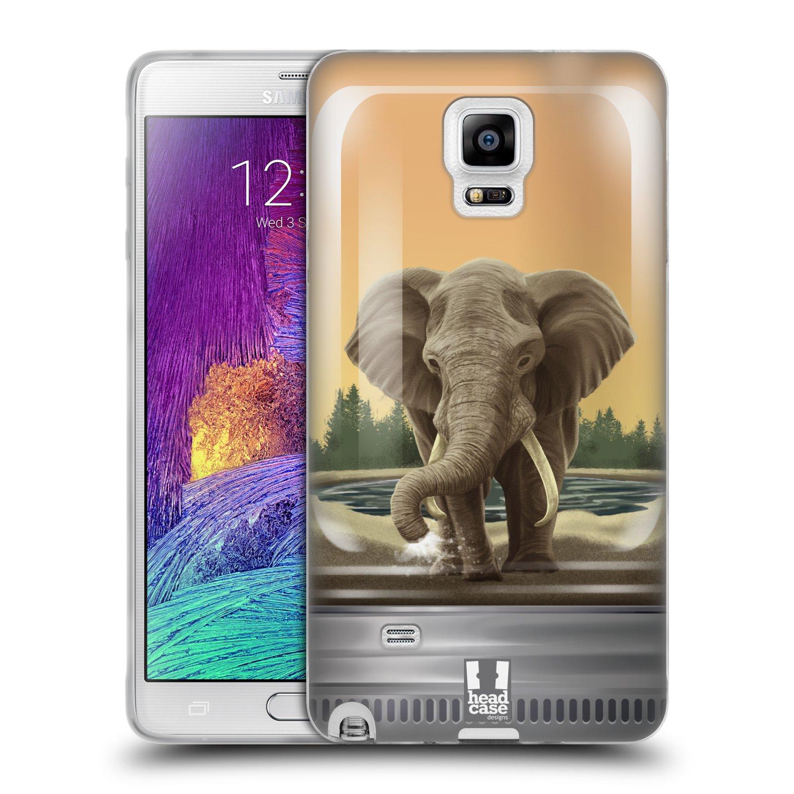 HEAD CASE silikonový obal na mobil Samsung Galaxy Note 4 (N910) vzor Zvířátka v těžítku slon