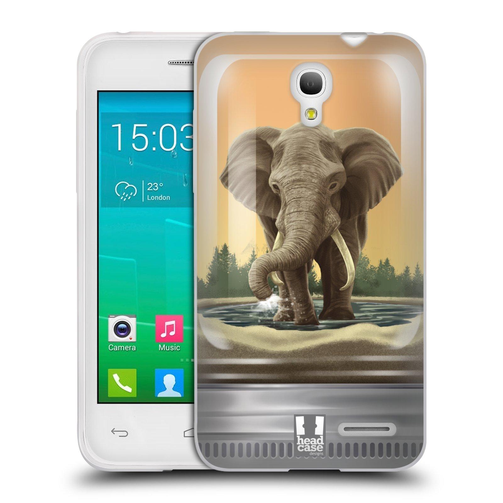 HEAD CASE silikonový obal na mobil Alcatel POP S3 OT-5050Y vzor Zvířátka v těžítku slon