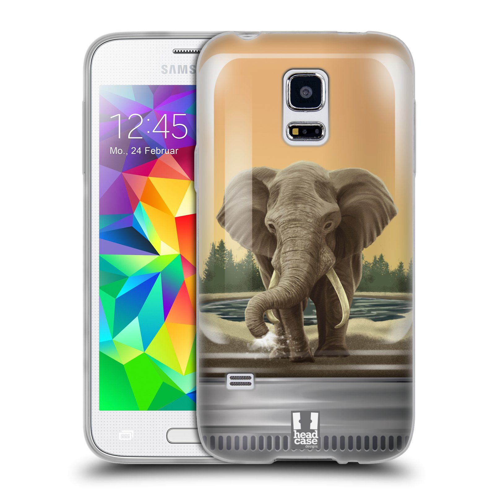 HEAD CASE silikonový obal na mobil Samsung Galaxy S5 MINI vzor Zvířátka v těžítku slon