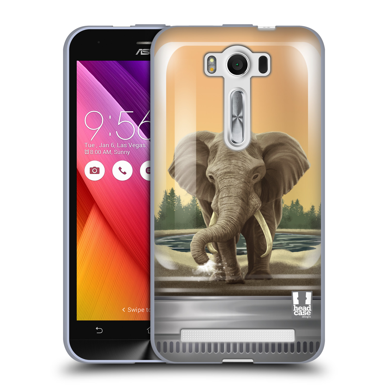 """HEAD CASE silikonový obal na mobil Asus Zenfone 2 LASER (ZE500KL s 5"""" displejem) vzor Zvířátka v těžítku slon"""