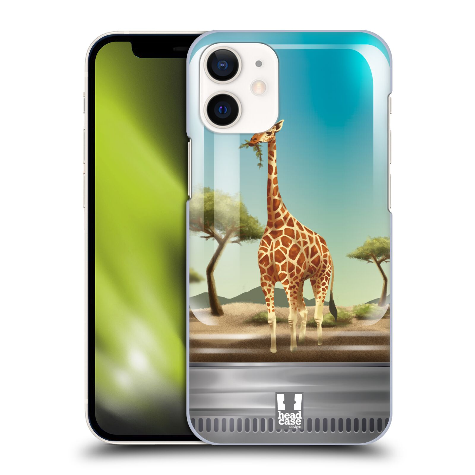 Plastový obal na mobil Apple Iphone 12 MINI vzor Zvířátka v těžítku žirafa