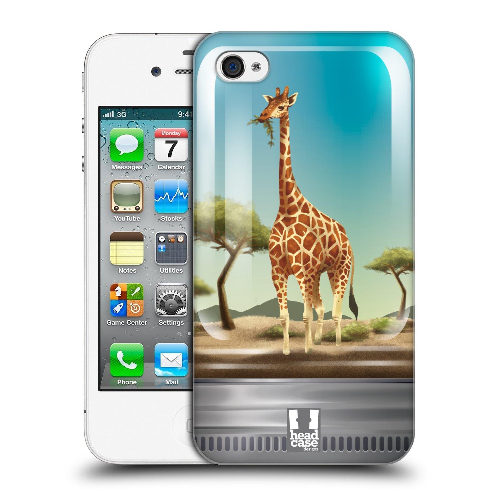 HEAD CASE plastový obal na mobil Apple Iphone 4/4S vzor Zvířátka v těžítku žirafa