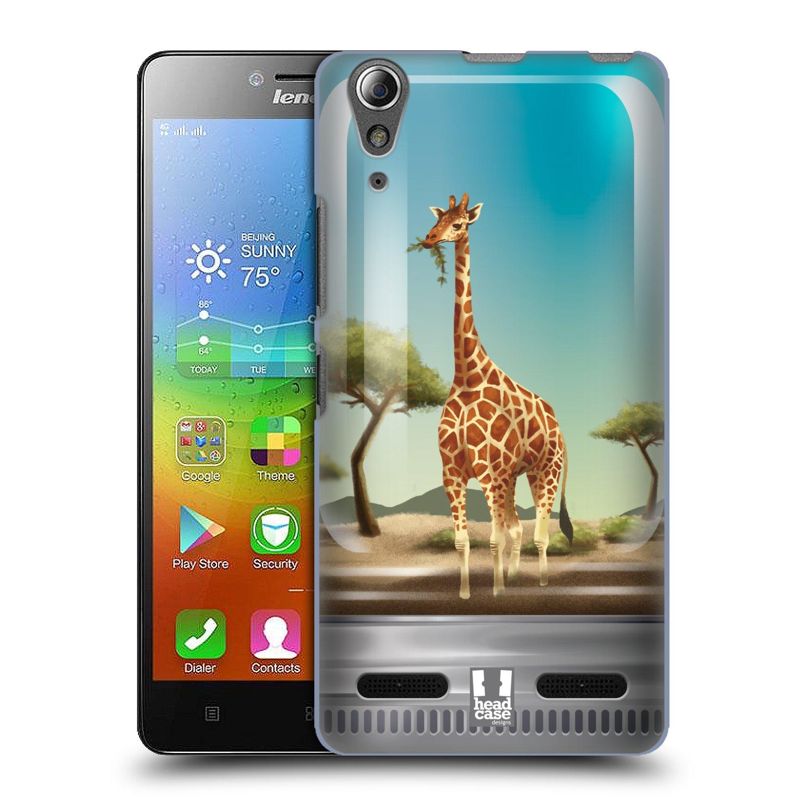 HEAD CASE pevný plastový obal na mobil LENOVO A6000 / A6000 PLUS vzor Zvířátka v těžítku žirafa