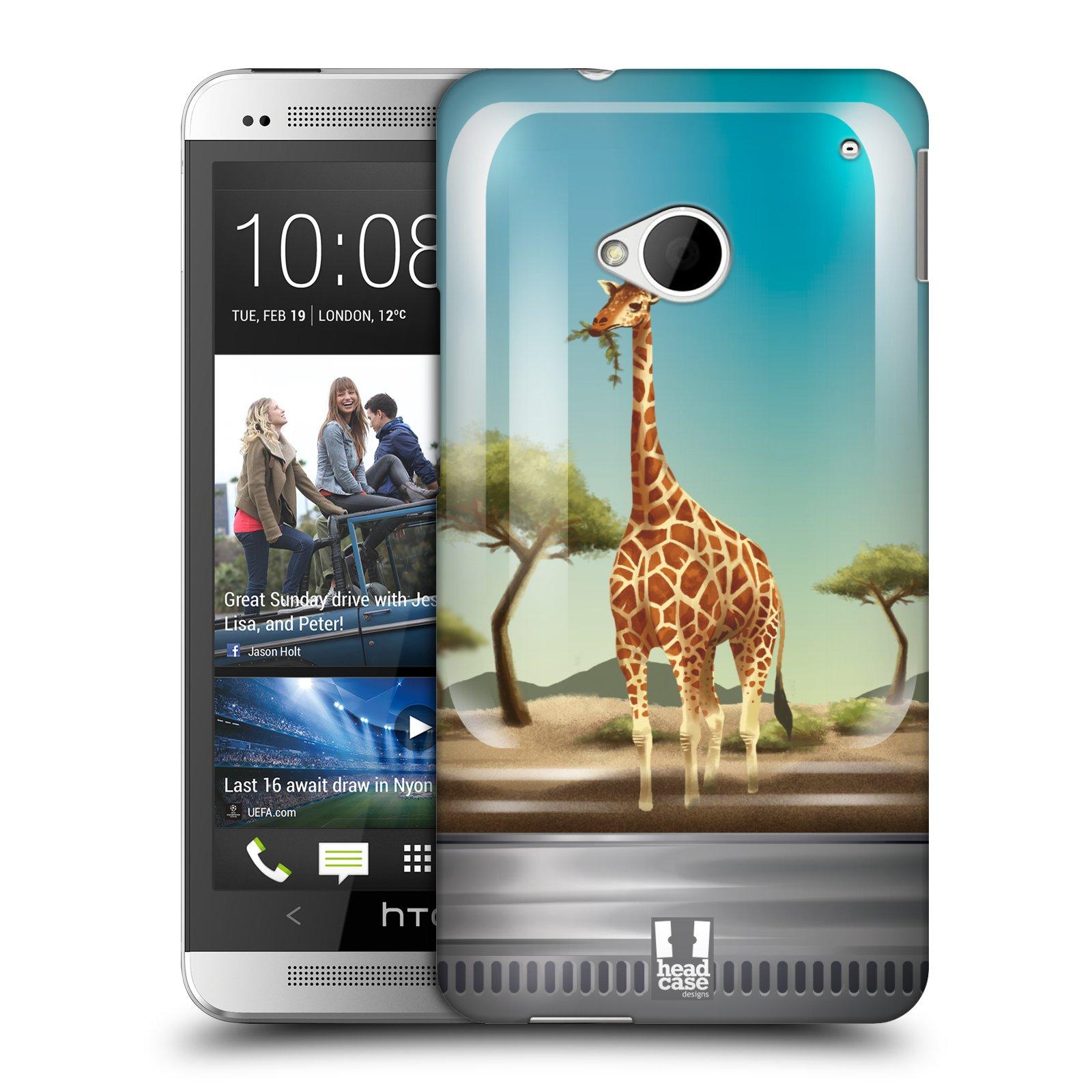 HEAD CASE plastový obal na mobil HTC One (M7) vzor Zvířátka v těžítku žirafa
