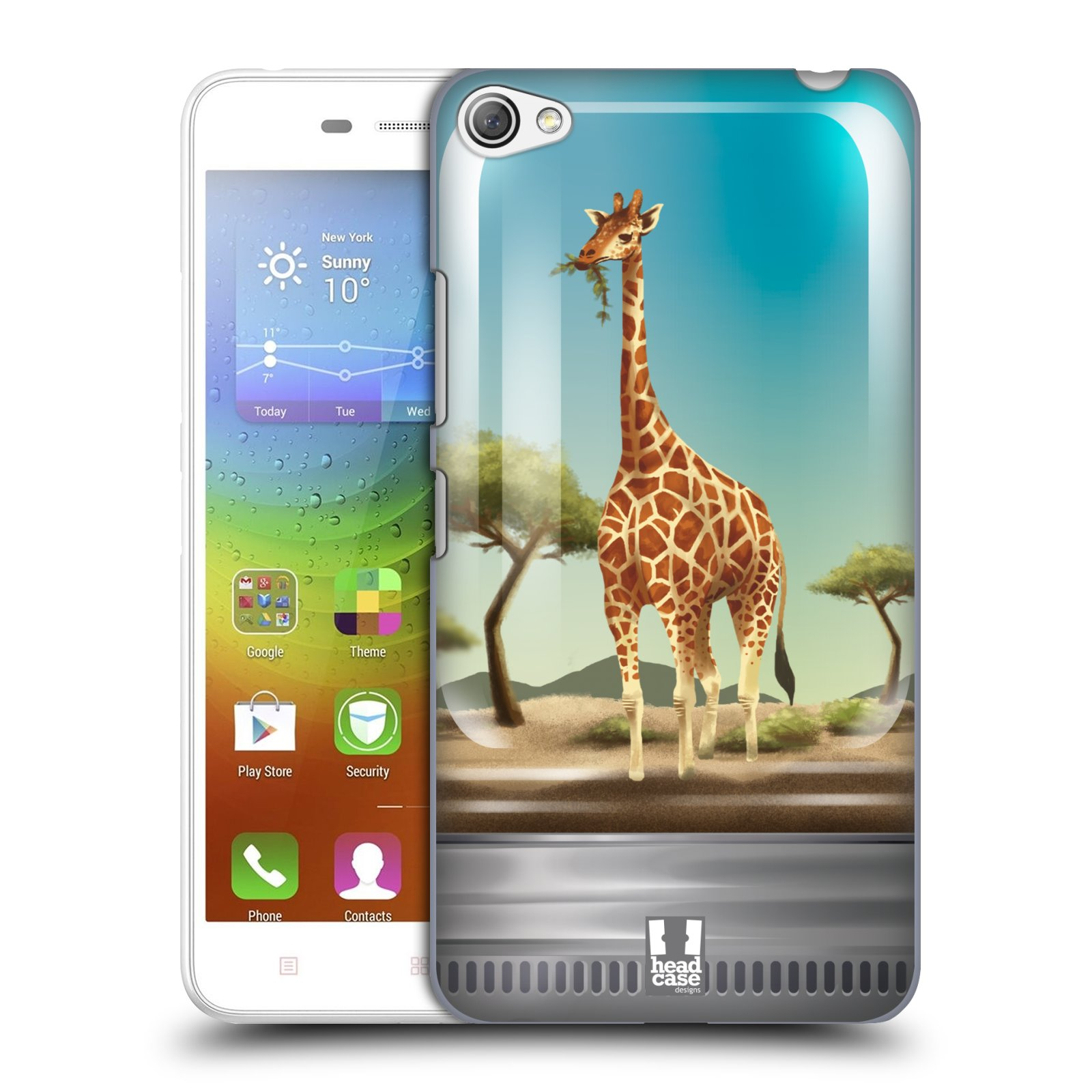 HEAD CASE pevný plastový obal na mobil LENOVO S60 / LENOVO S60 DUAL SIM vzor Zvířátka v těžítku žirafa
