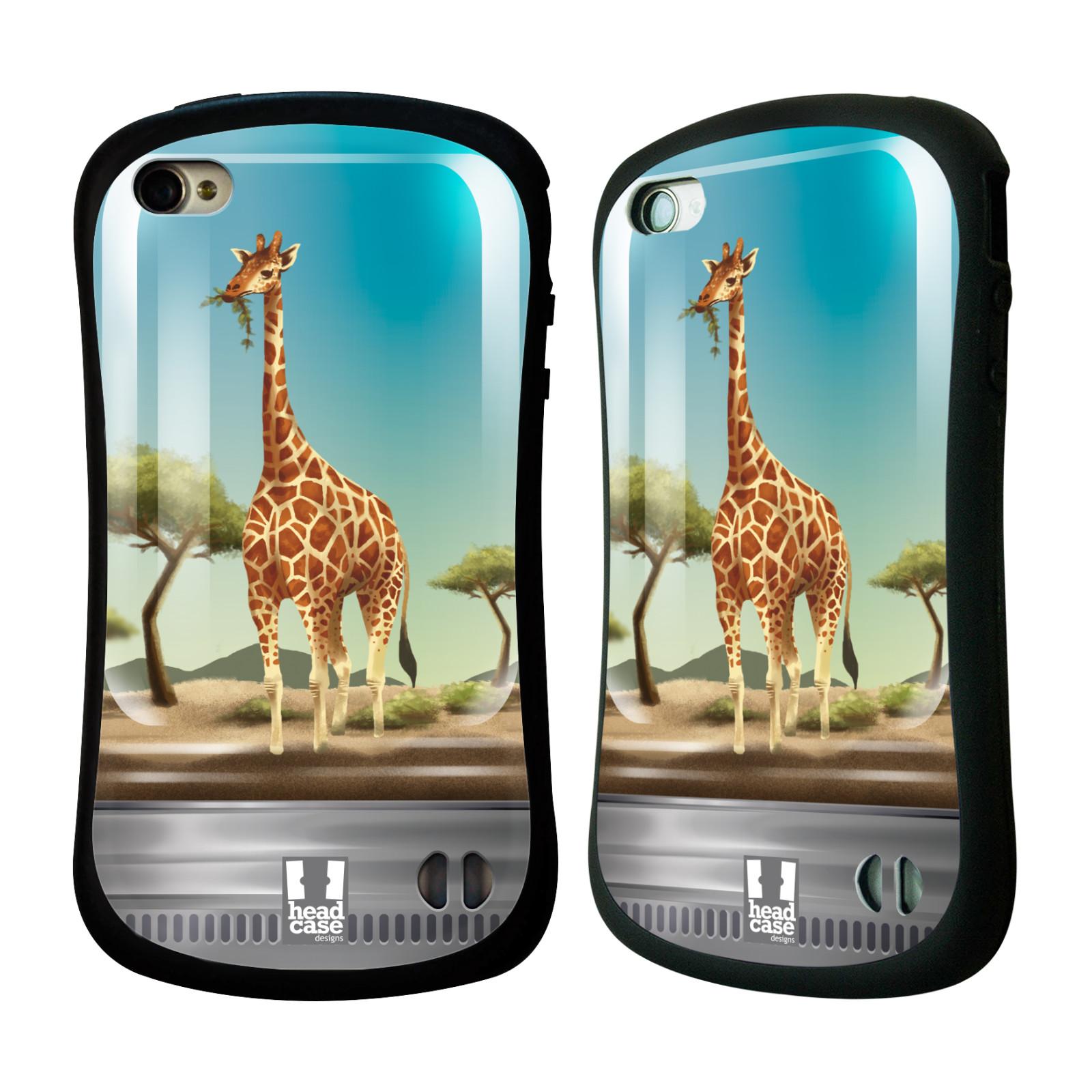 HEAD CASE silikon/plast odolný obal na mobil Apple Iphone 4/4S vzor Zvířátka v těžítku žirafa