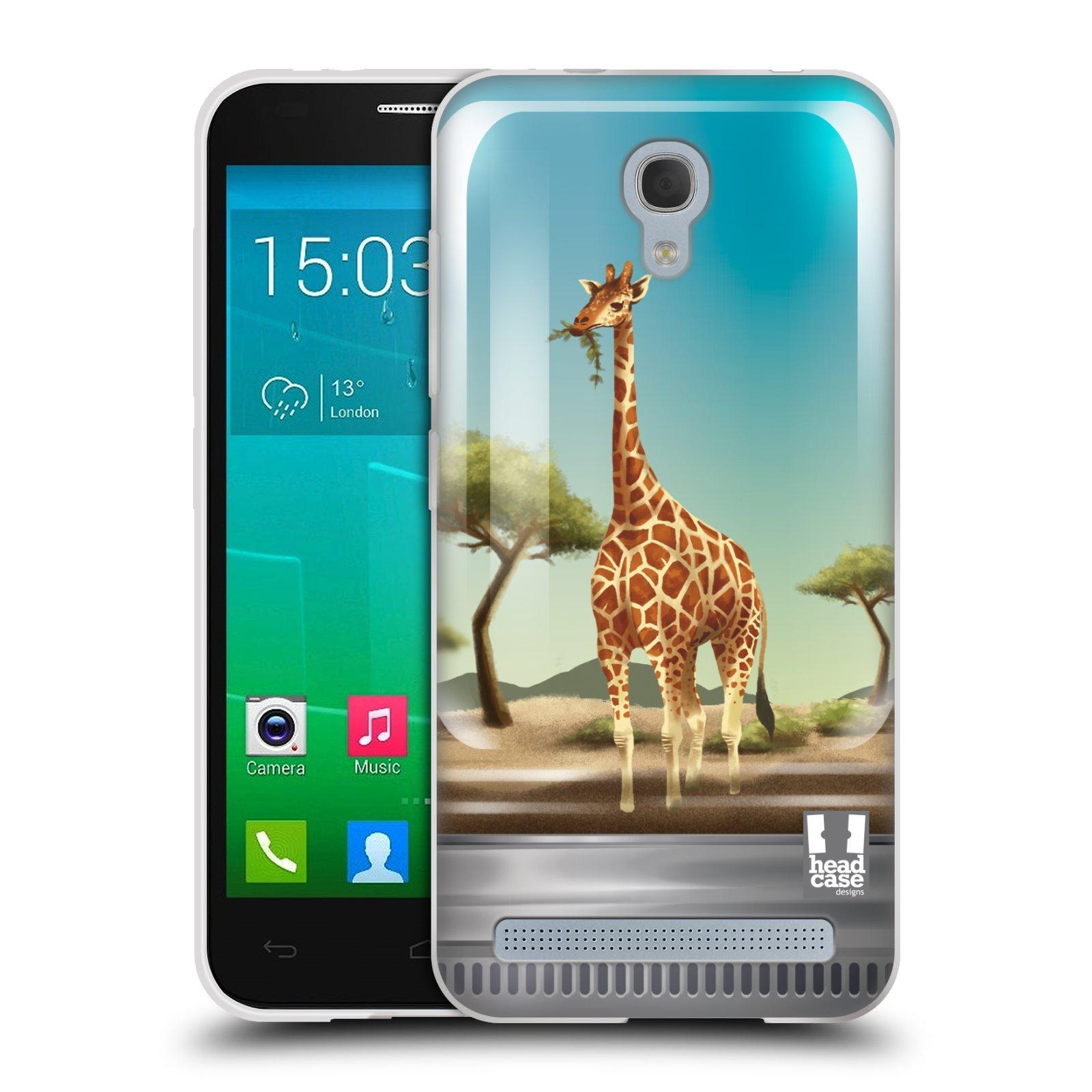 HEAD CASE silikonový obal na mobil Alcatel Idol 2 MINI S 6036Y vzor Zvířátka v těžítku žirafa