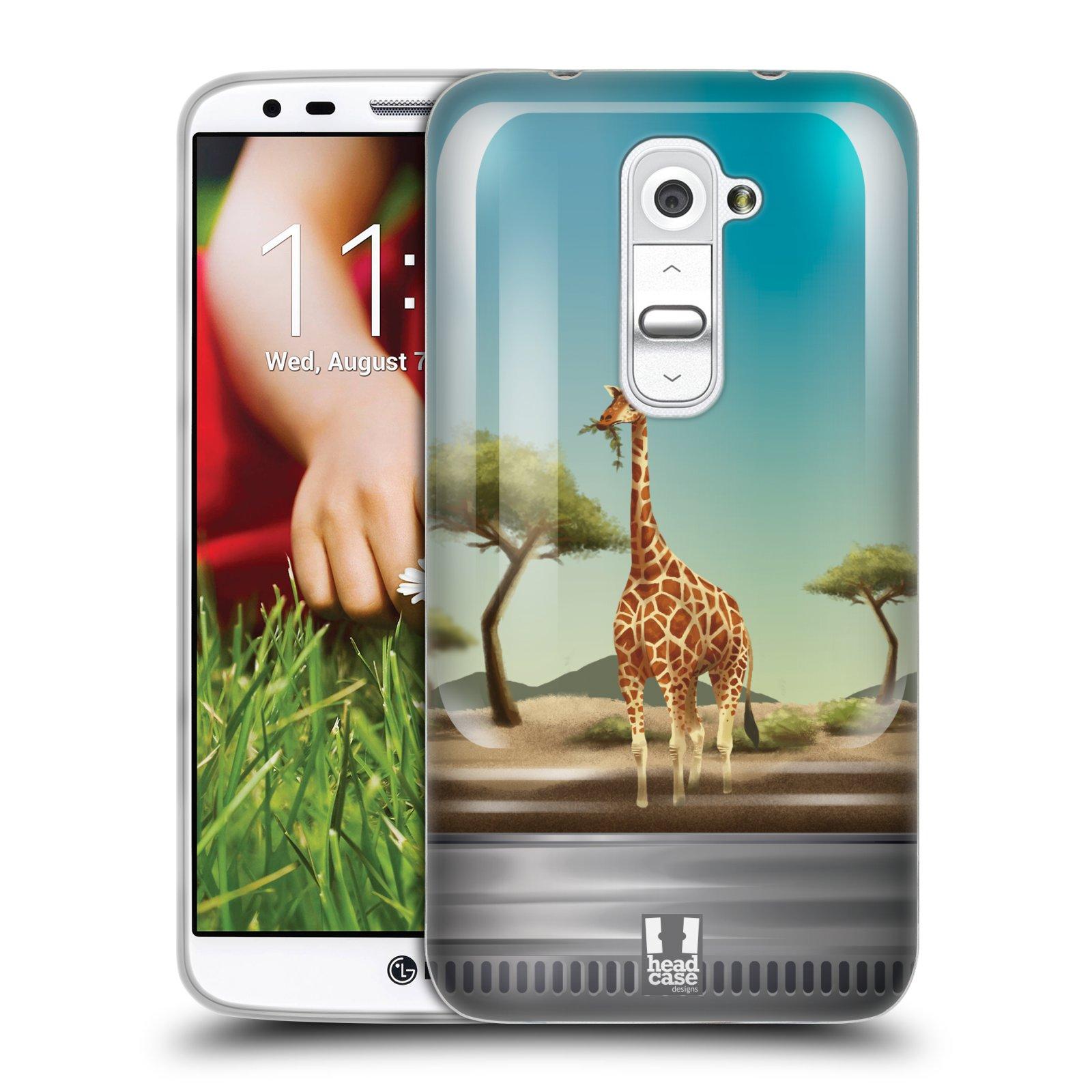 HEAD CASE silikonový obal na mobil LG G2 vzor Zvířátka v těžítku žirafa