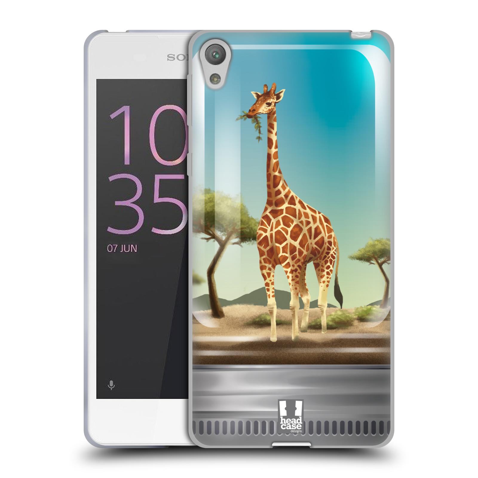 HEAD CASE silikonový obal na mobil SONY XPERIA E5 vzor Zvířátka v těžítku žirafa