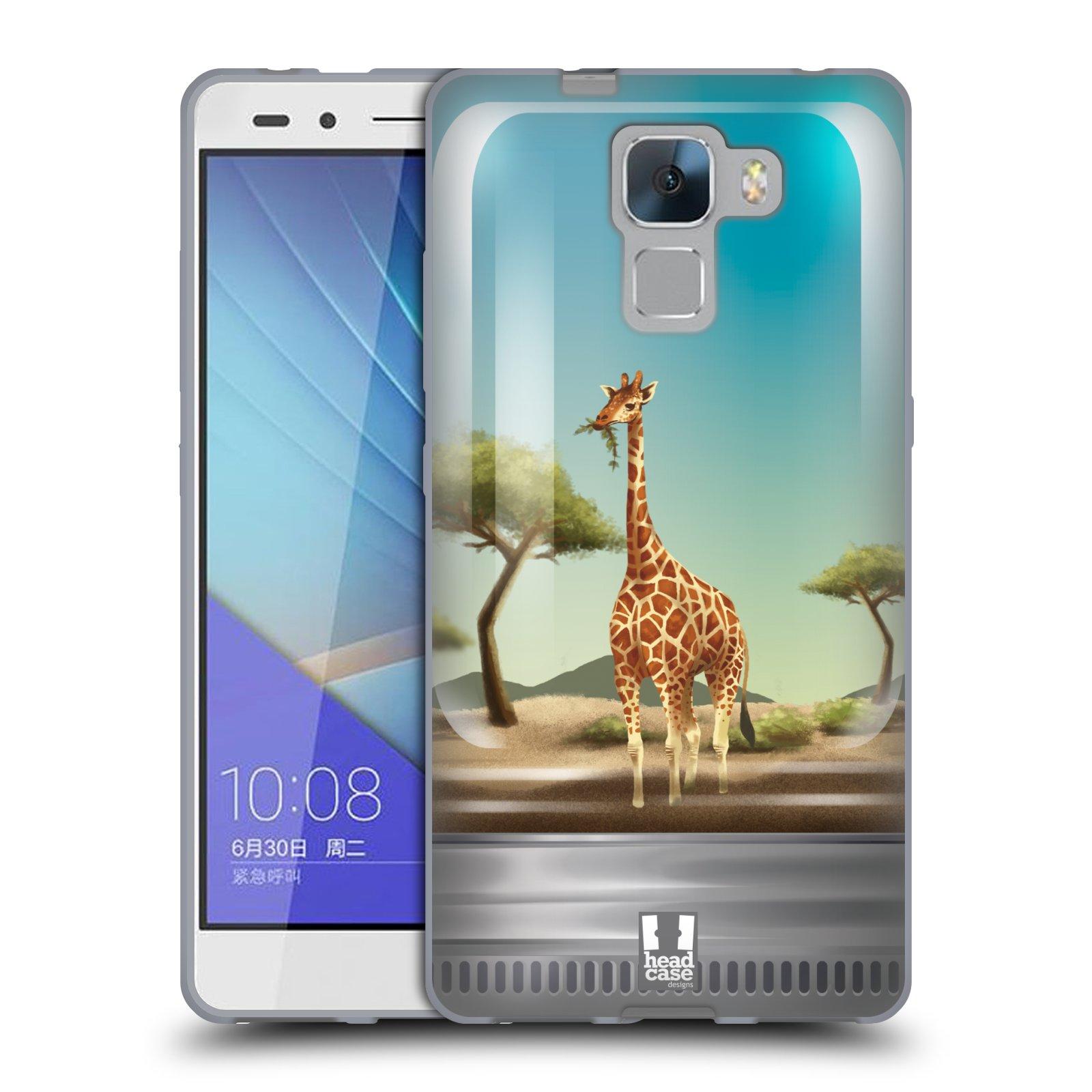 HEAD CASE silikonový obal na mobil HUAWEI HONOR 7 vzor Zvířátka v těžítku žirafa