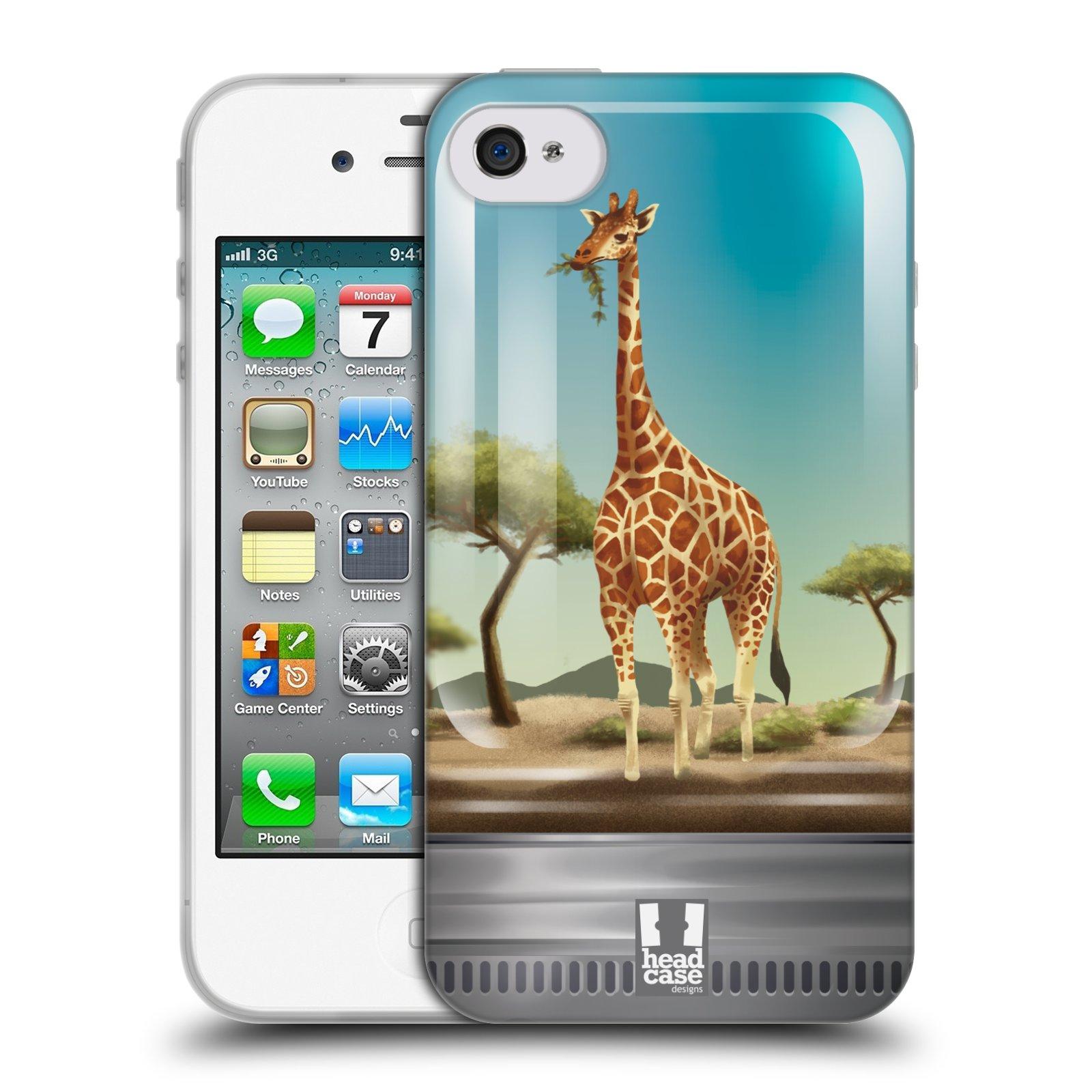 HEAD CASE silikonový obal na mobil Apple Iphone 4/4S vzor Zvířátka v těžítku žirafa