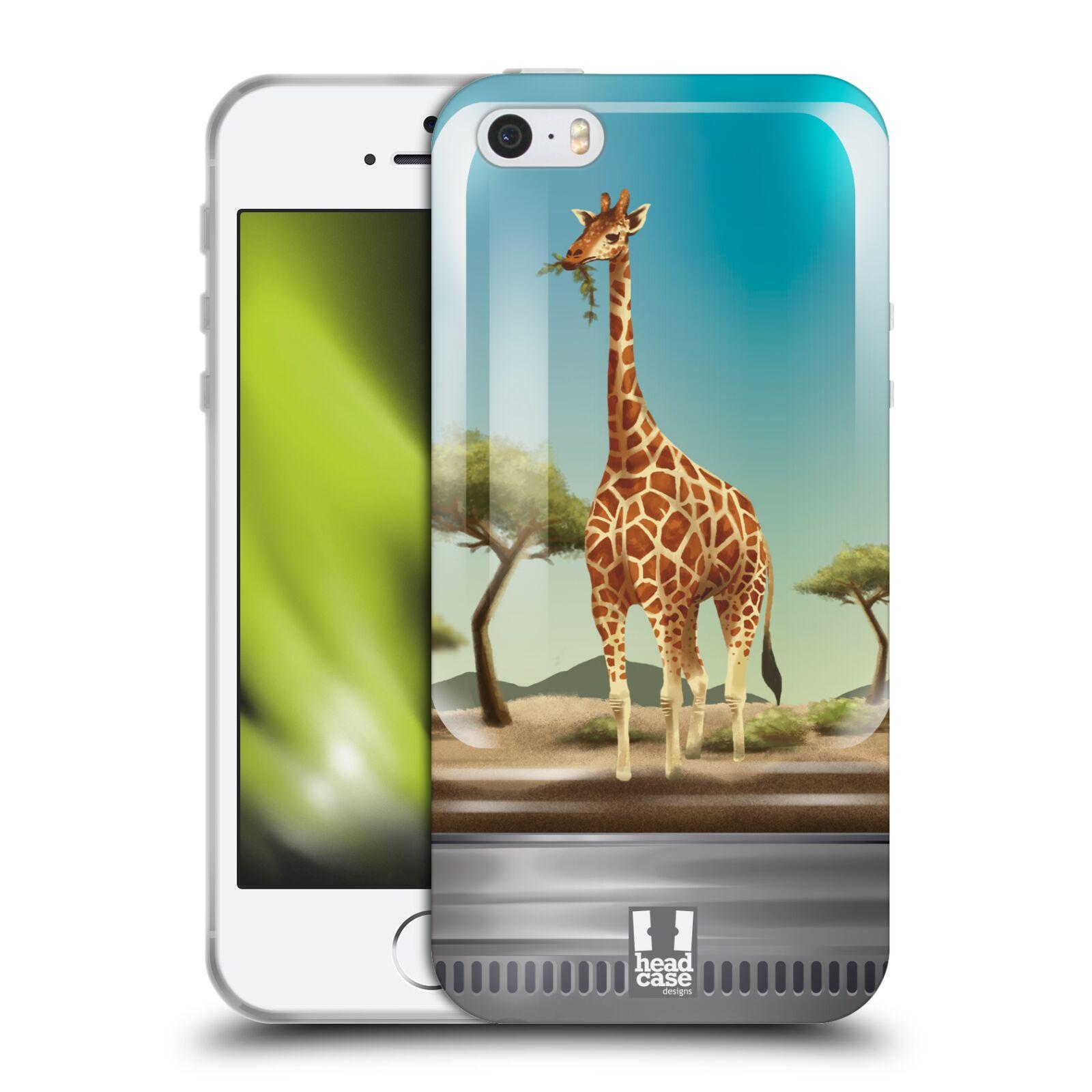 HEAD CASE silikonový obal na mobil Apple Iphone 5/5S vzor Zvířátka v těžítku žirafa