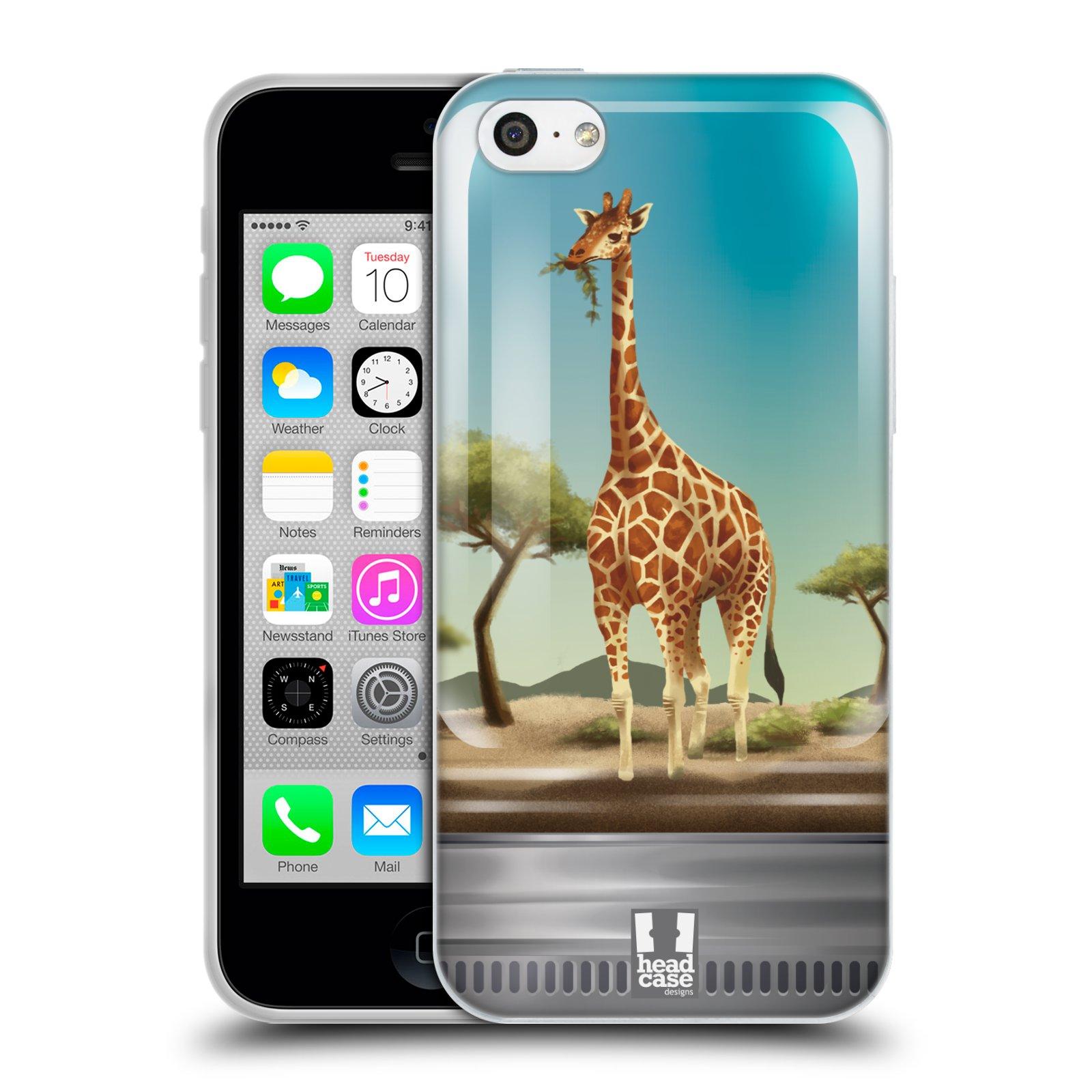 HEAD CASE silikonový obal na mobil Apple Iphone 5C vzor Zvířátka v těžítku žirafa