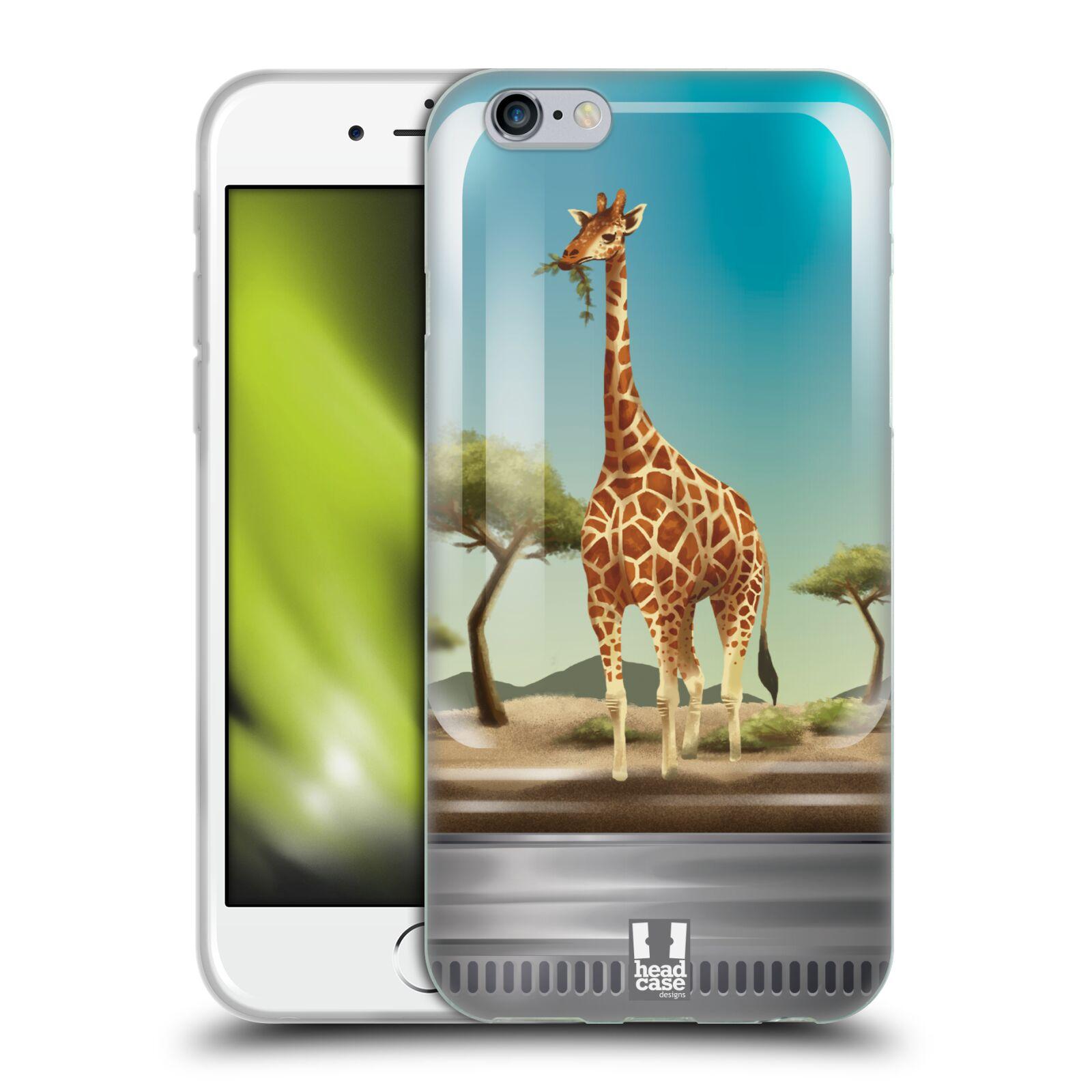 HEAD CASE silikonový obal na mobil Apple Iphone 6/6S vzor Zvířátka v těžítku žirafa