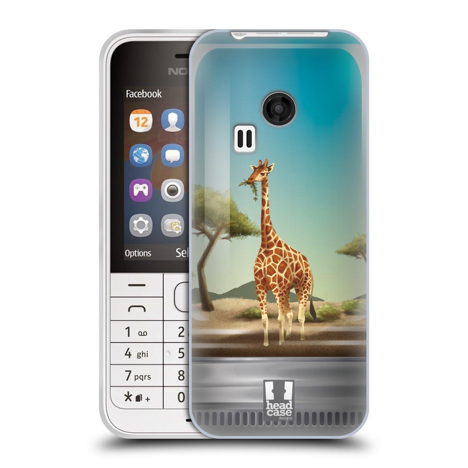 HEAD CASE silikonový obal na mobil NOKIA 220 / NOKIA 220 DUAL SIM vzor Zvířátka v těžítku žirafa