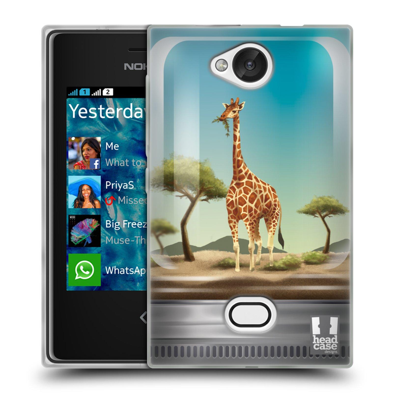 HEAD CASE silikonový obal na mobil NOKIA Asha 503 vzor Zvířátka v těžítku žirafa