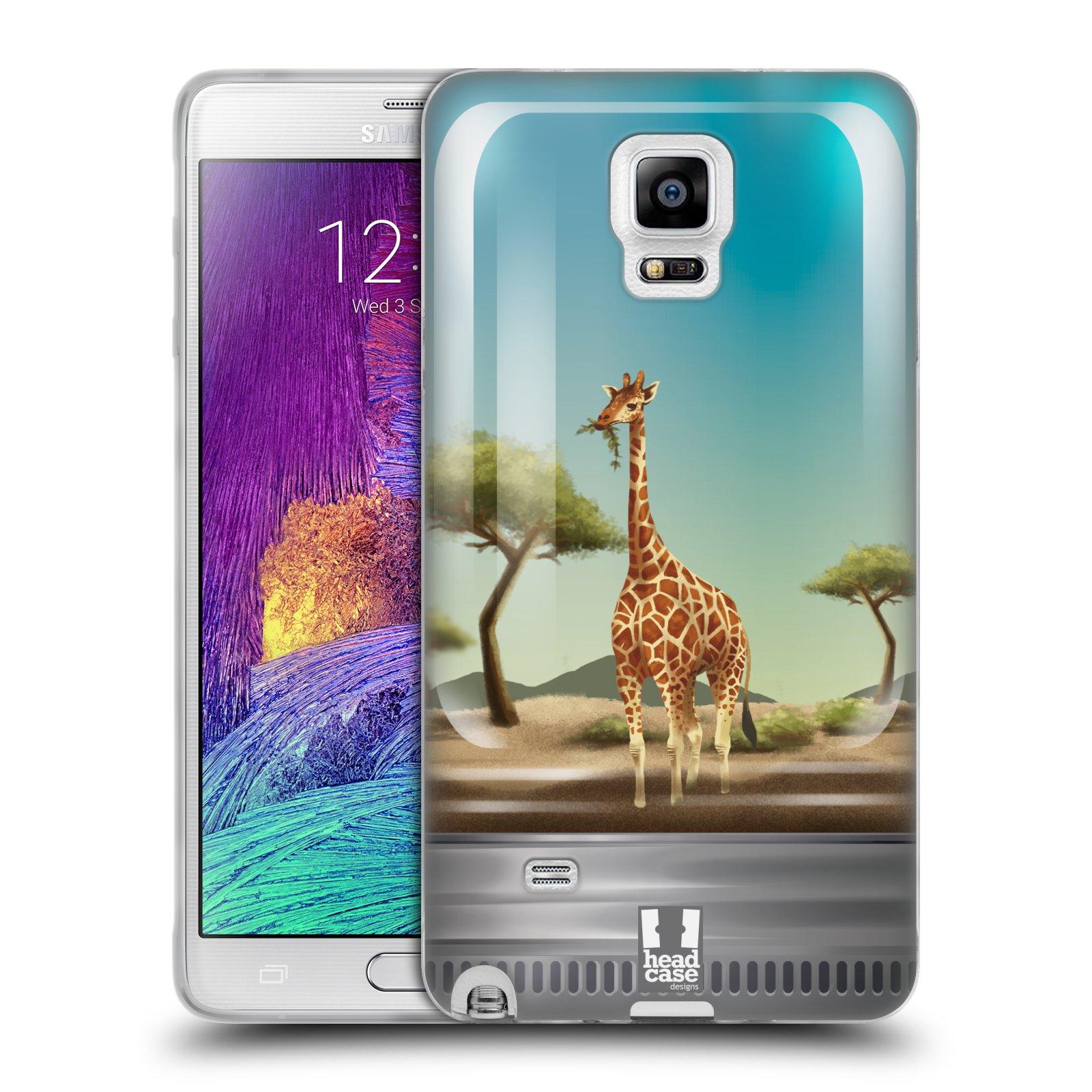 HEAD CASE silikonový obal na mobil Samsung Galaxy Note 4 (N910) vzor Zvířátka v těžítku žirafa