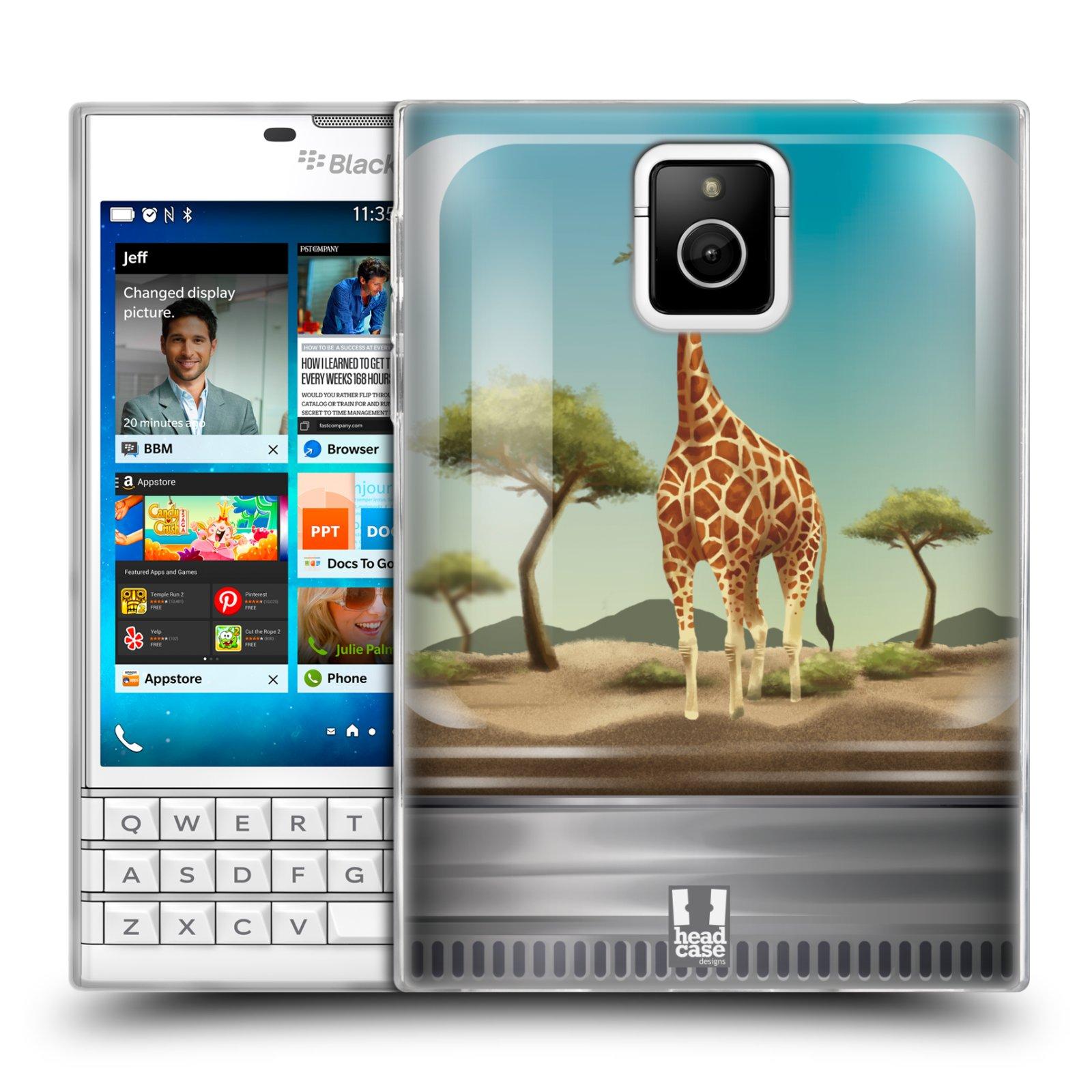 HEAD CASE silikonový obal na mobil Blackberry PASSPORT vzor Zvířátka v těžítku žirafa