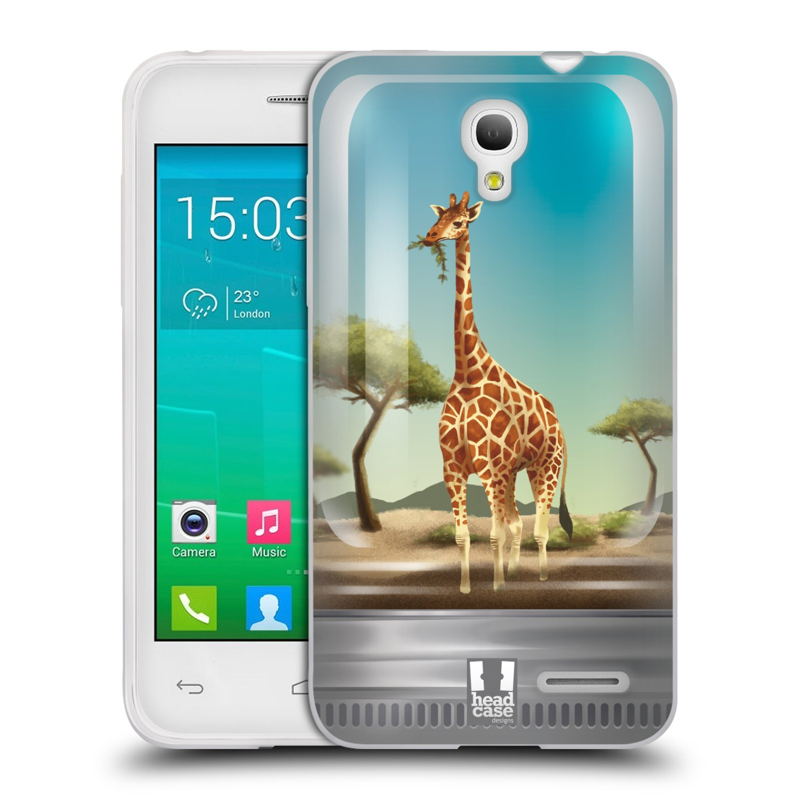 HEAD CASE silikonový obal na mobil Alcatel POP S3 OT-5050Y vzor Zvířátka v těžítku žirafa