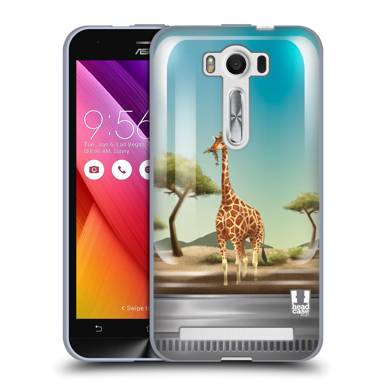 """HEAD CASE silikonový obal na mobil Asus Zenfone 2 LASER (ZE500KL s 5"""" displejem) vzor Zvířátka v těžítku žirafa"""