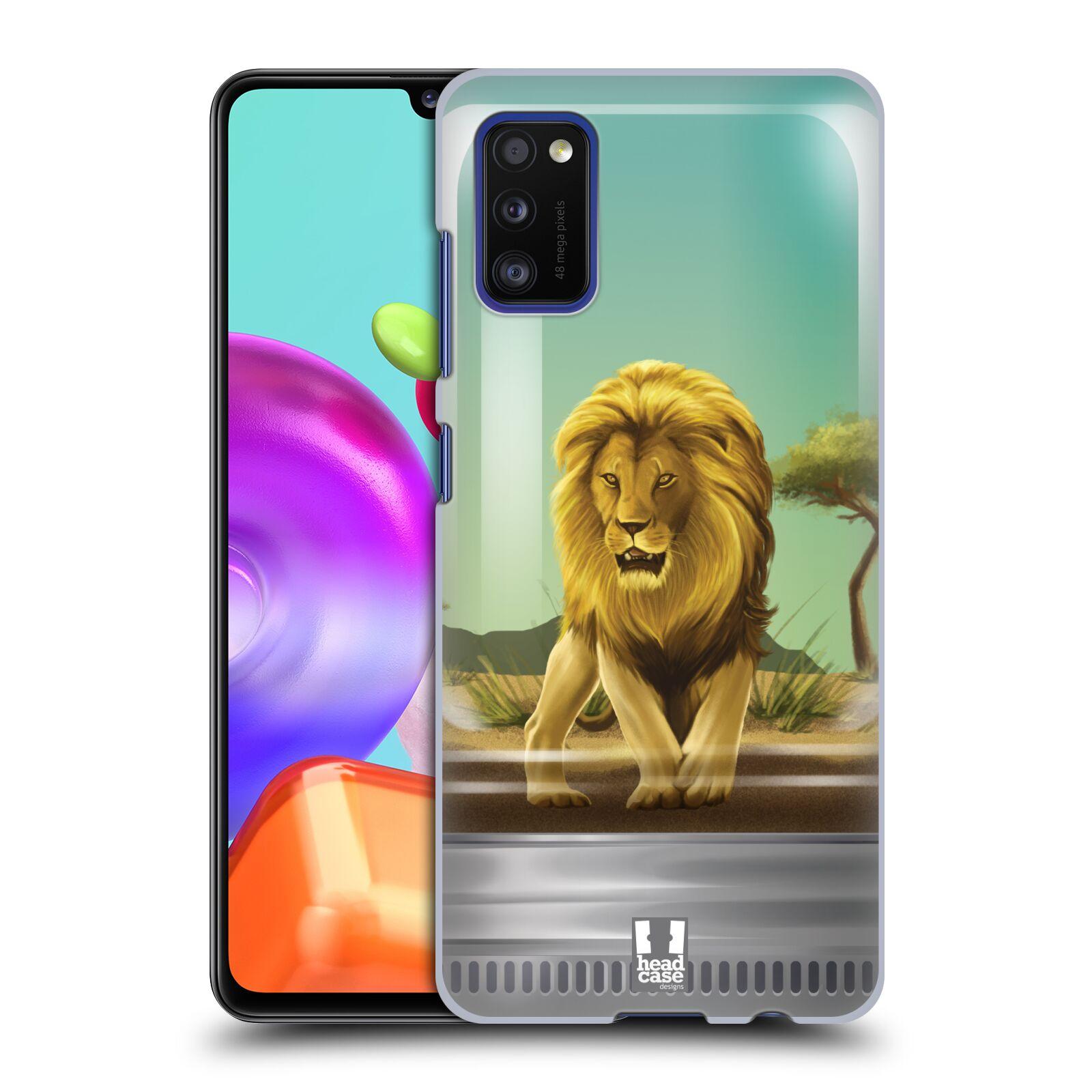 Zadní kryt na mobil Samsung Galaxy A41 vzor Zvířátka v těžítku lev